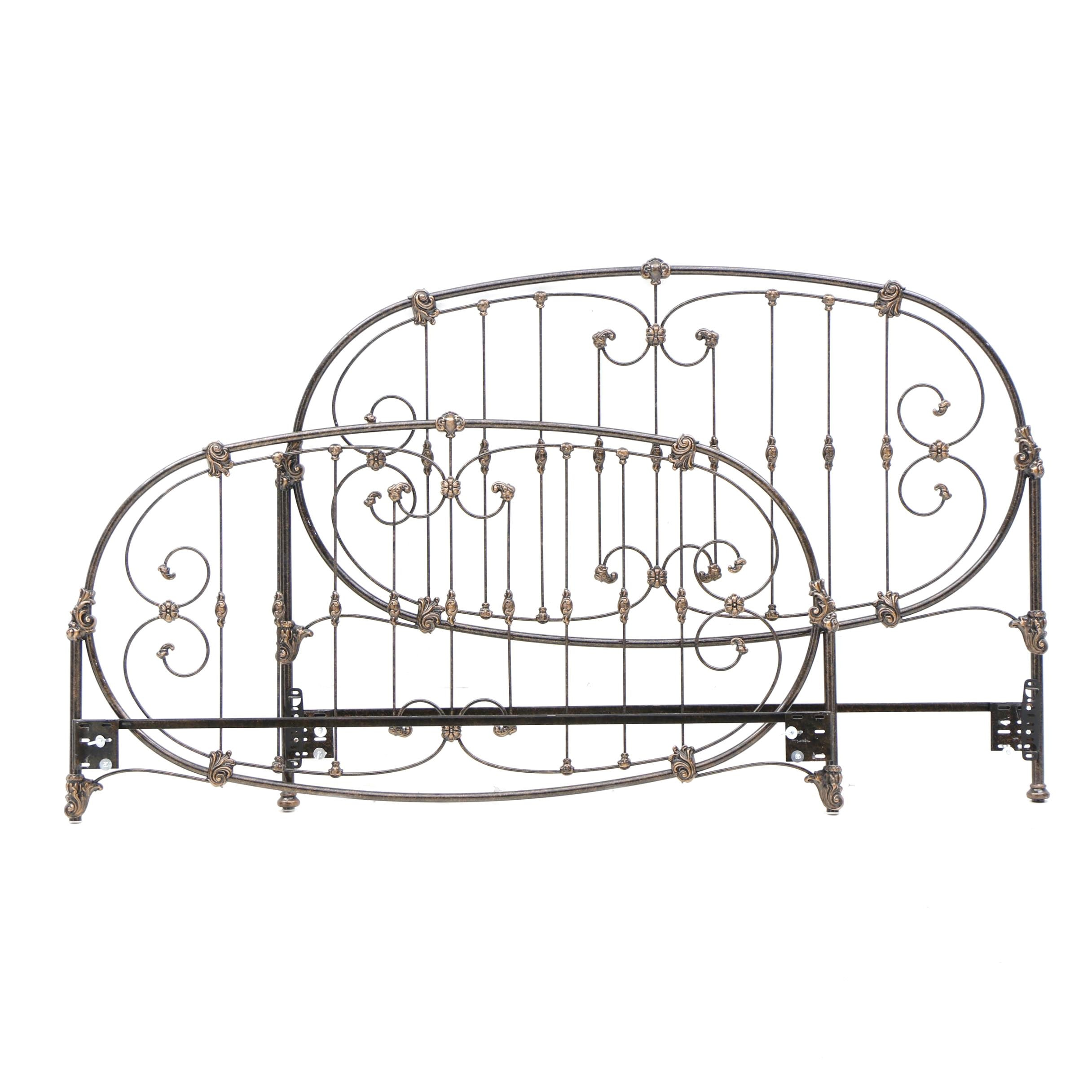 King Size Metal Headboard and Footboard, 20th Century