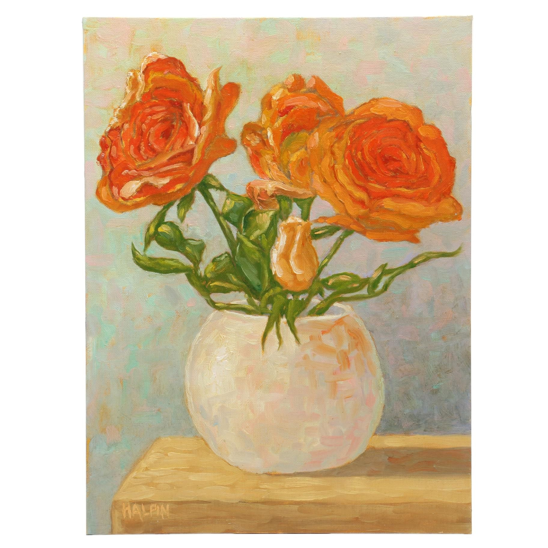 """Tim Halpin Oil Painting """"Roses in a White Vase"""""""
