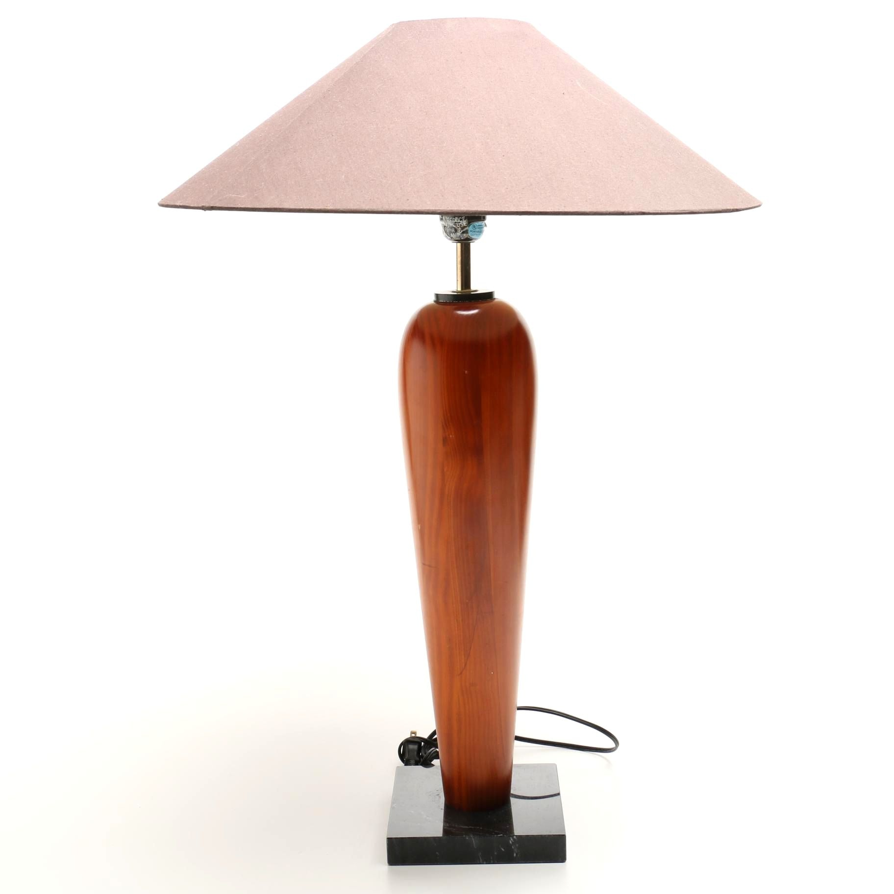 Mid Century Style Tapered Wood Table Lamp with Linen Shade and Marble Base