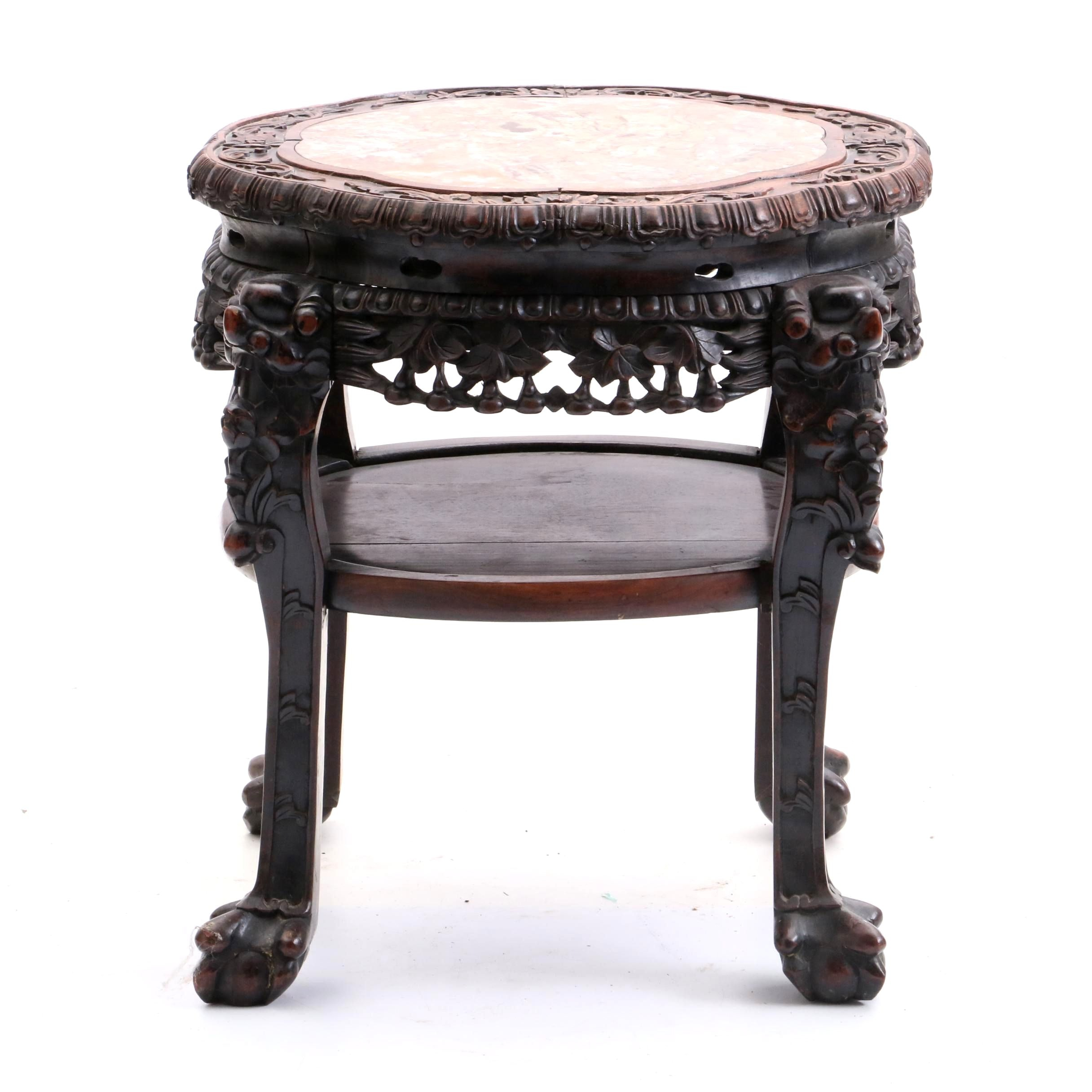 Chinese Carved Rosewood and Marble Top Accent Table, Early/Mid 20th Century