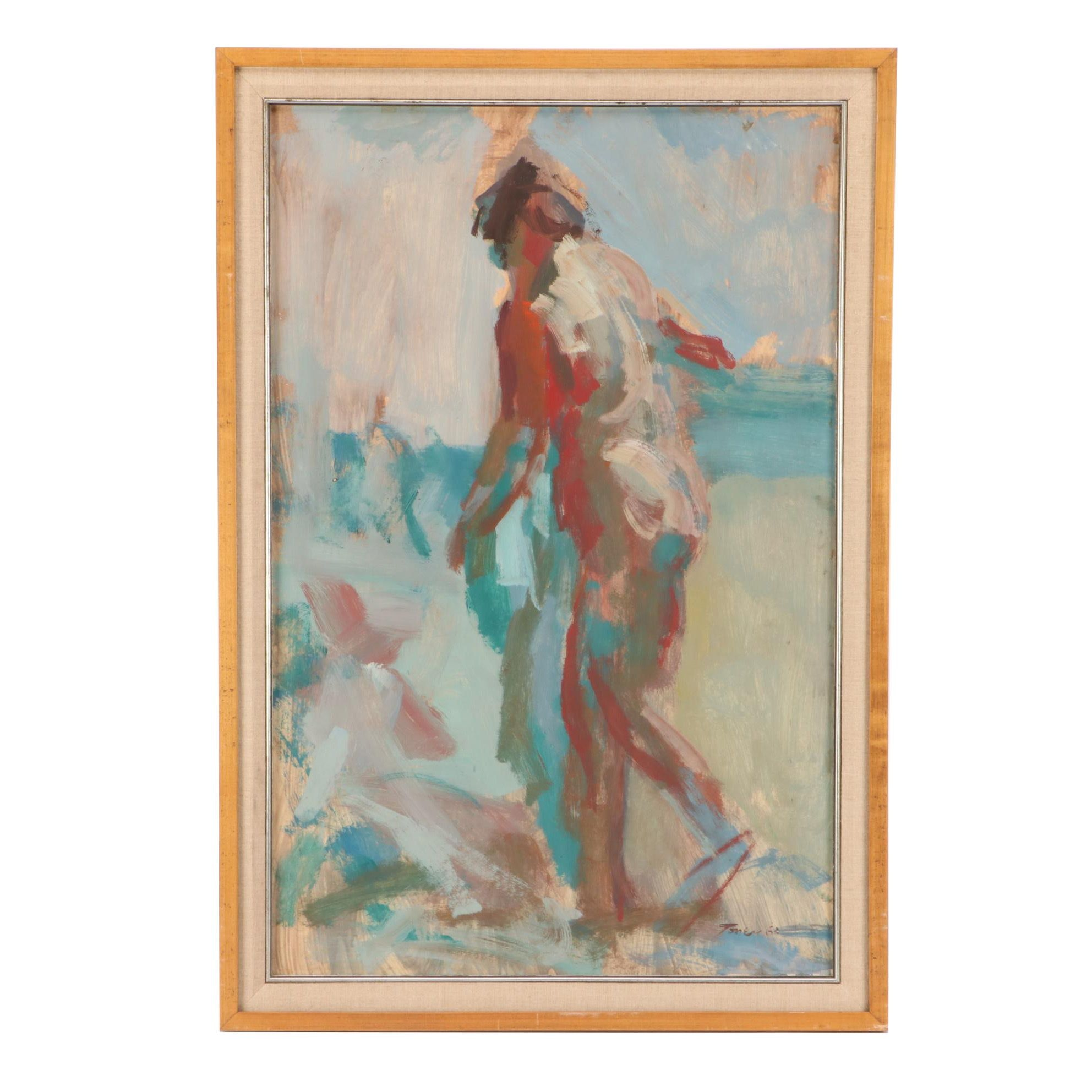 Anthony Toney 1963 Abstract Figure Oil Painting