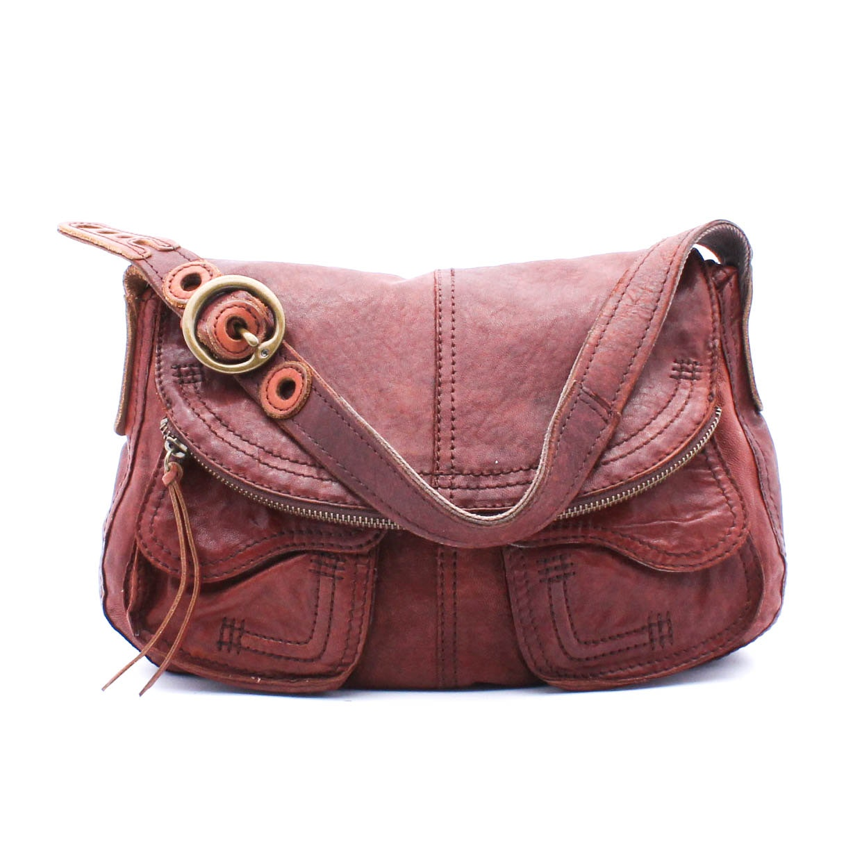 Lucky Brand Vintage Inspired Distressed Leather Hobo