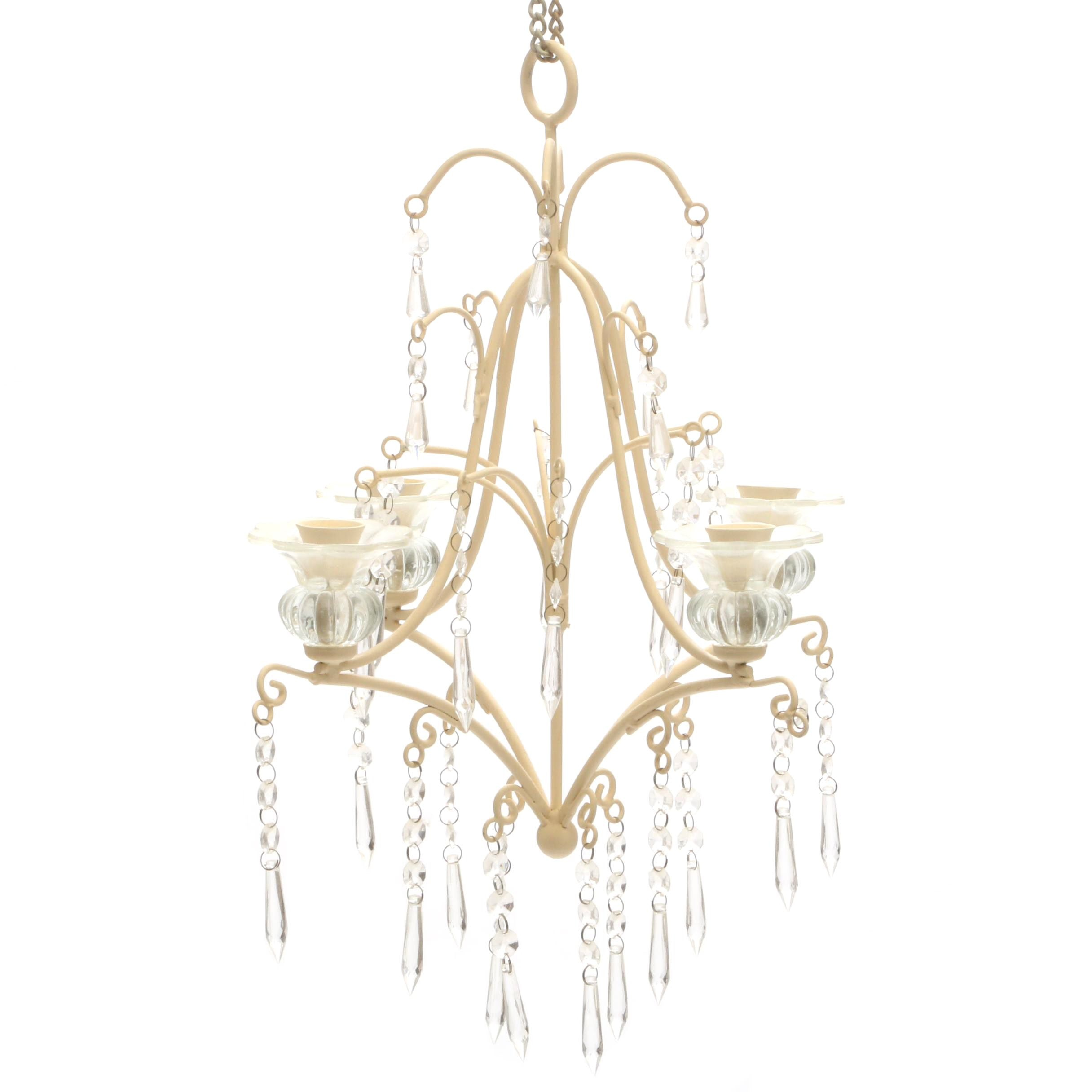Painted Metal and Glass Prism Candelabra