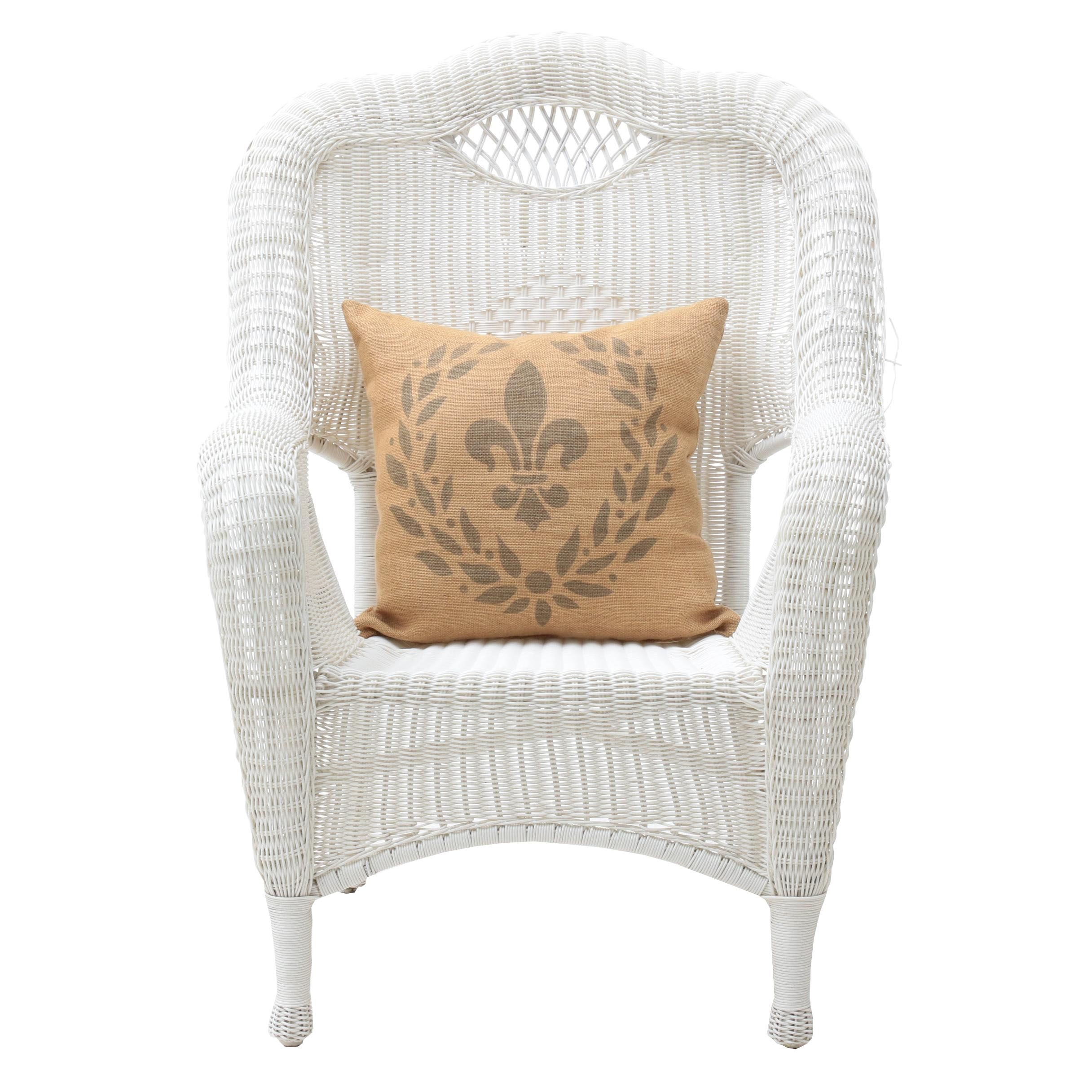 Contemporary White Wicker Weave Armchair