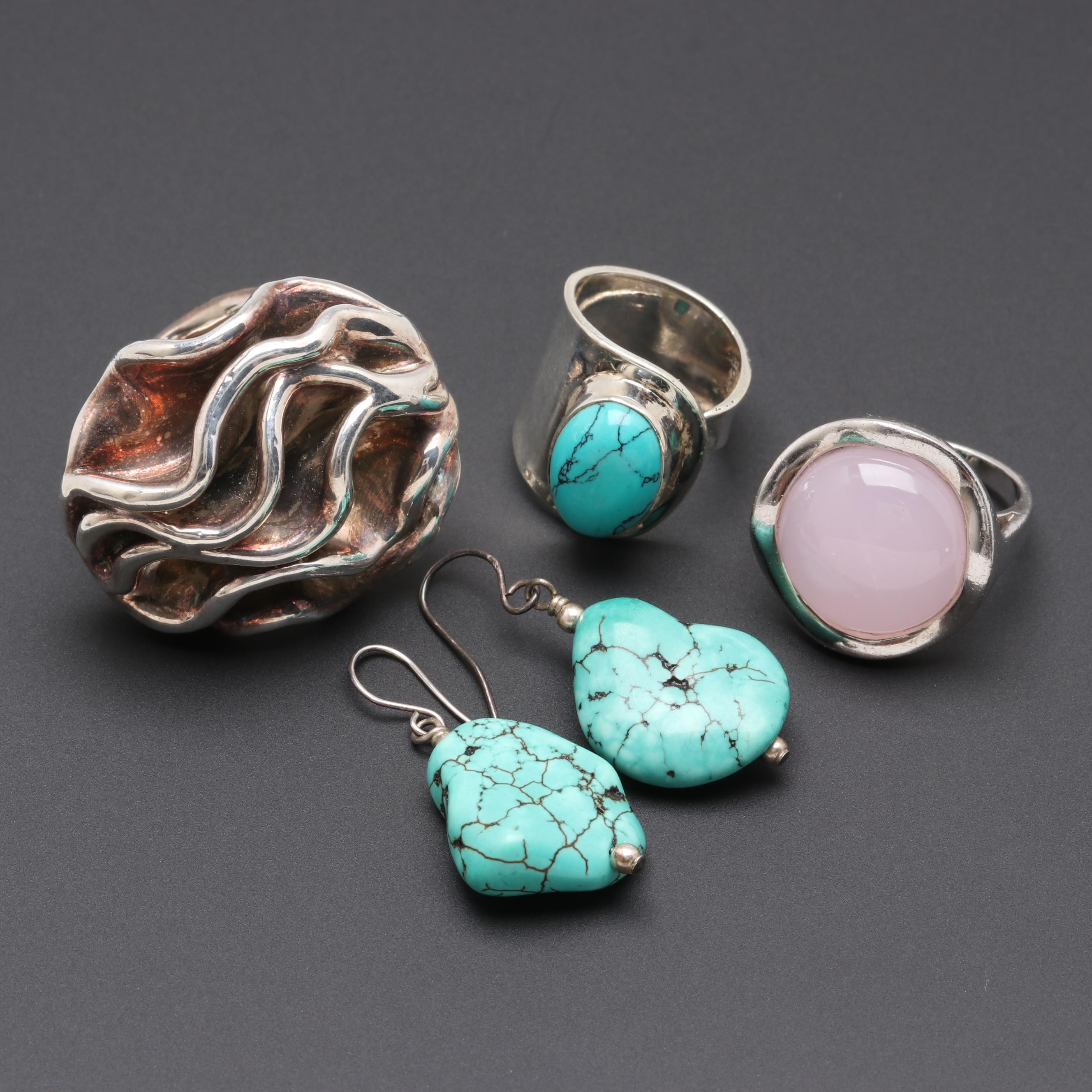 Sterling Silver Imitation Turquoise and Glass Earrings and Rings