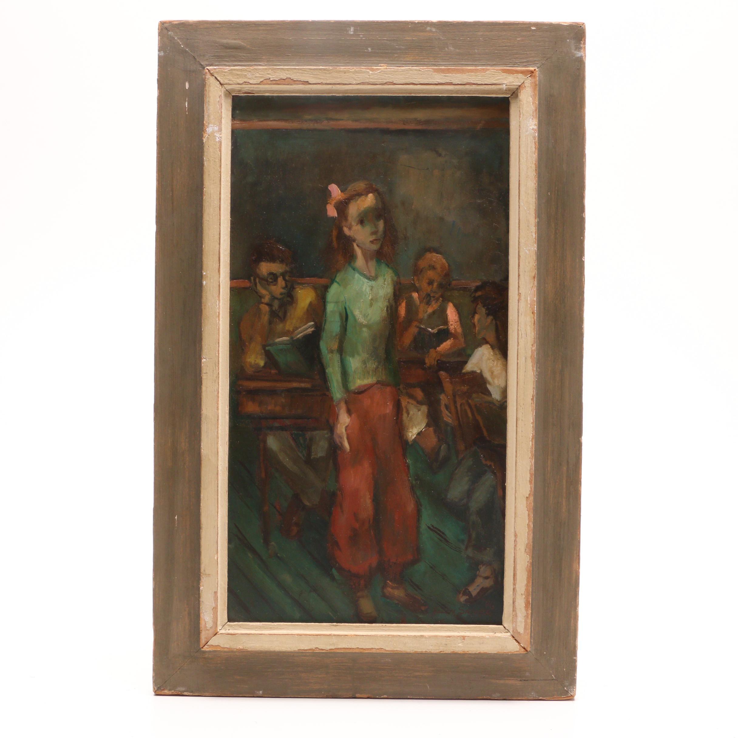 Helen Silver 1946 Oil Painting of School Children
