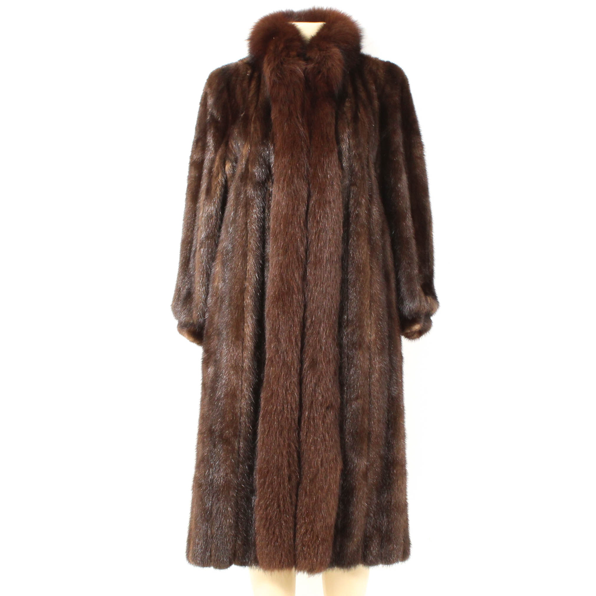 Mahogany Mink Fur Coat with Fox Fur Trim by Fredrick & Nelson