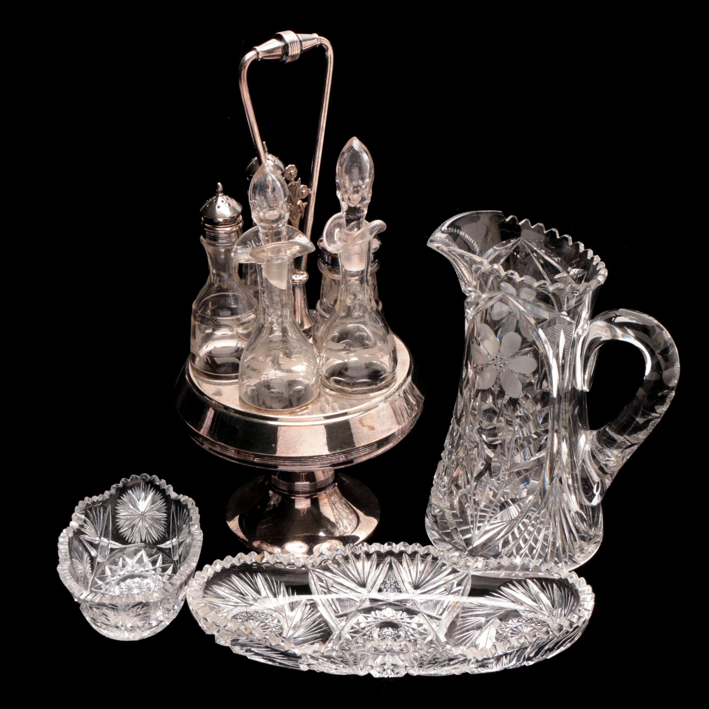 Circa Early 20th Century Crystal Serveware and Silver Plate Cruet Set