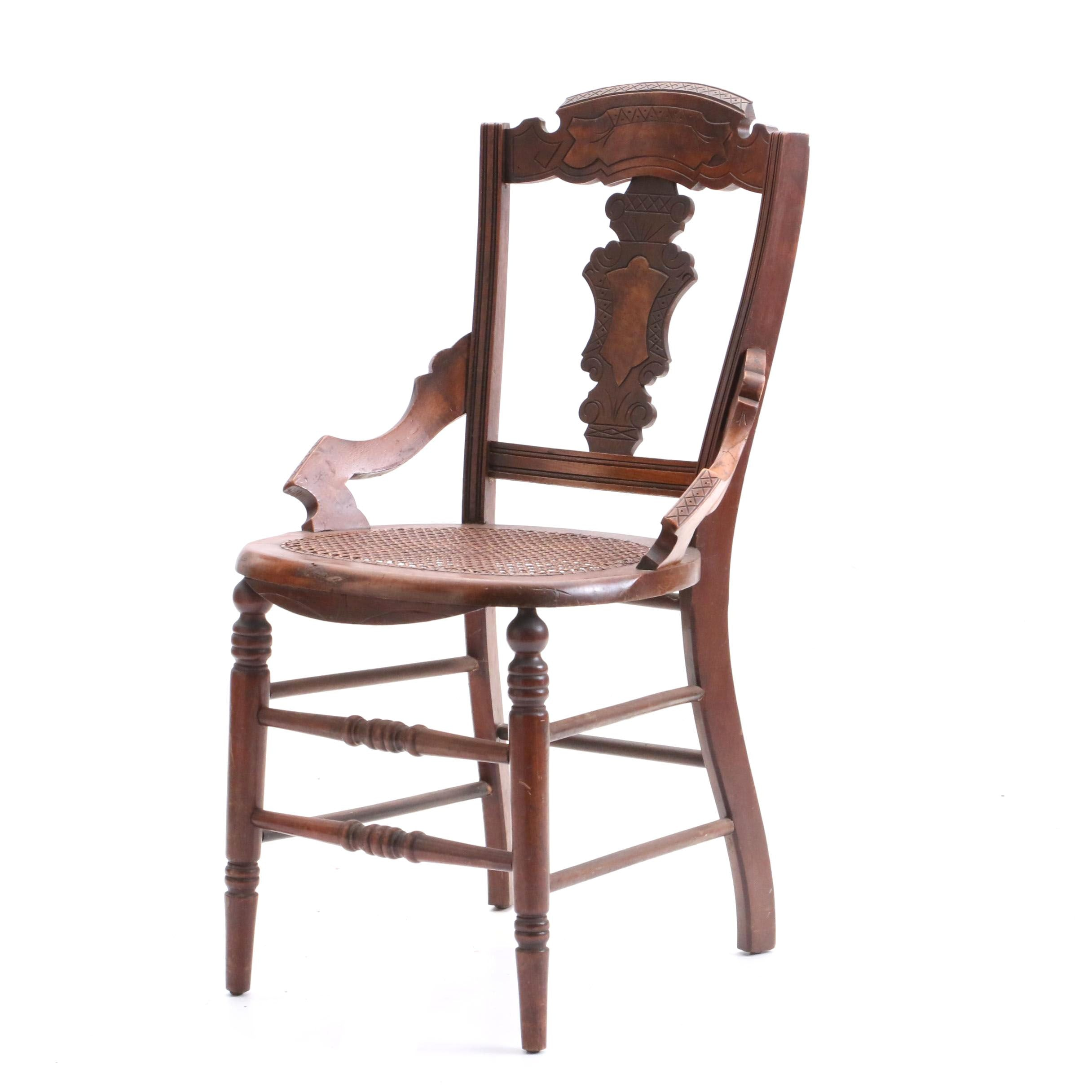 Eastlake Walnut Side Chair with Cane Seat, Late 19th Century