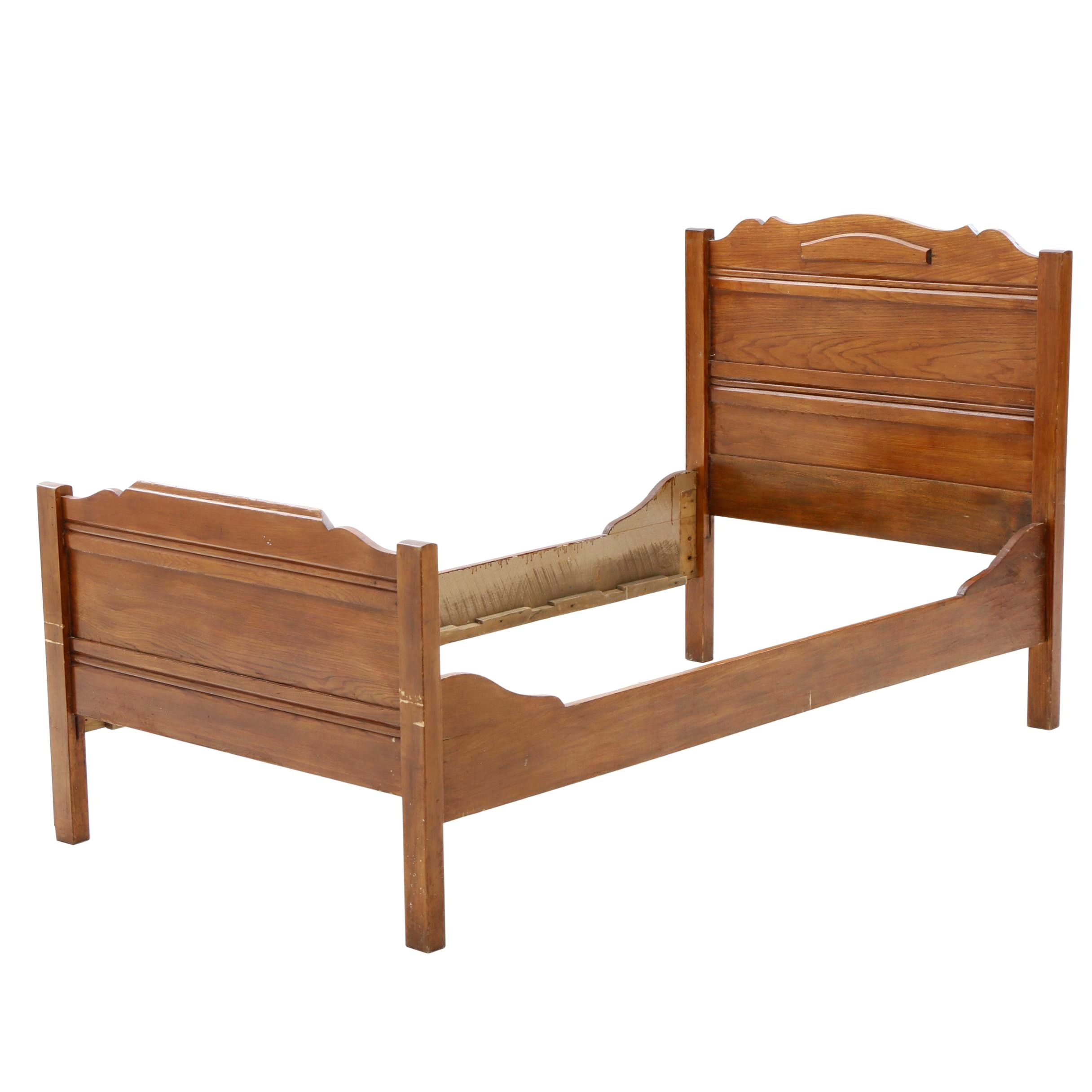 American Oak Twin Bed Frame, Early 20th Century