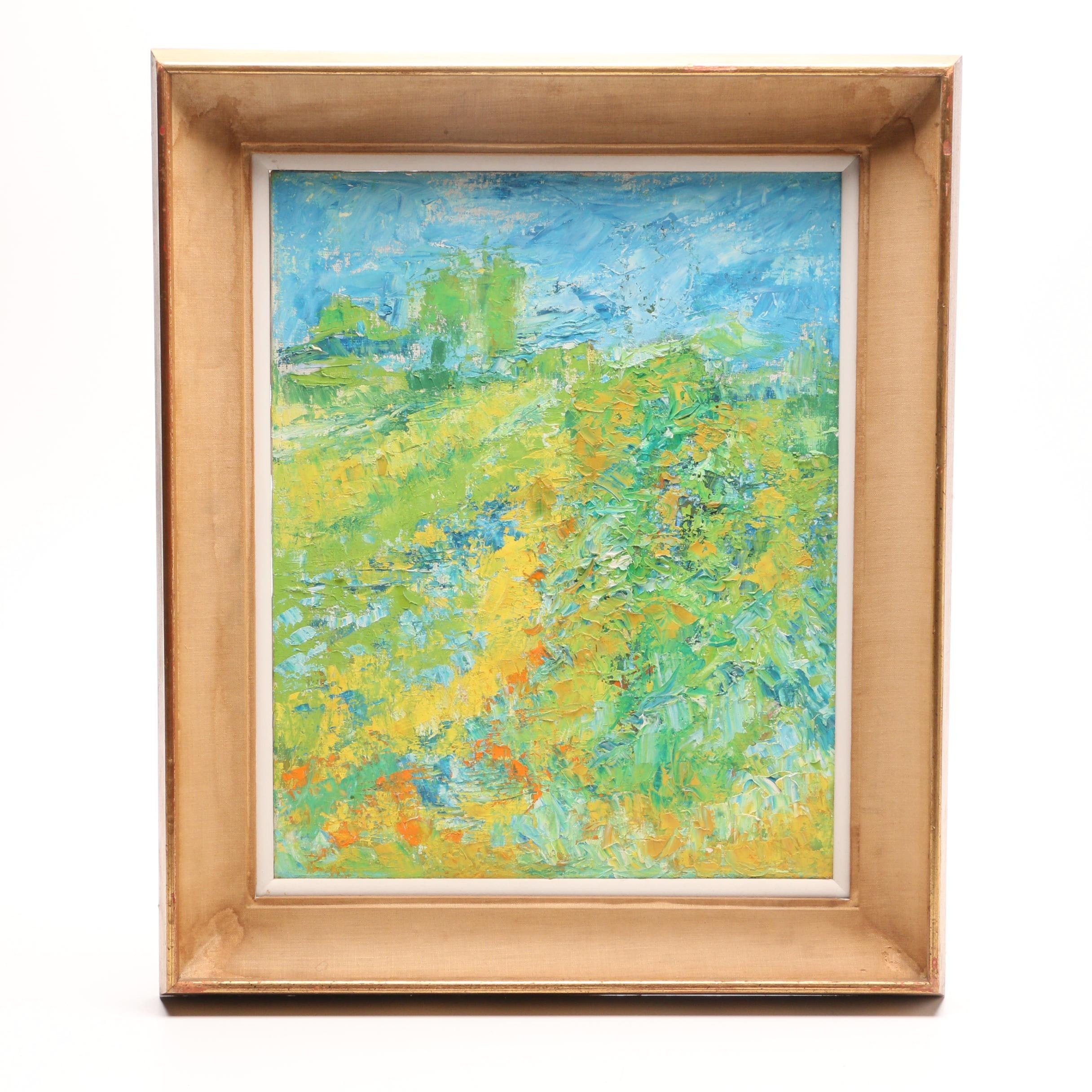 Mid-Century Abstract Landscape Oil Painting