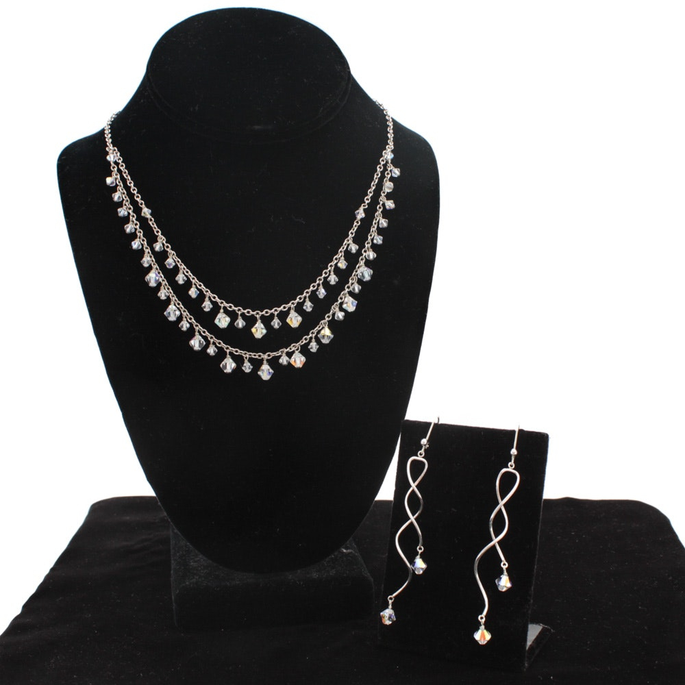 Sterling Silver and Crystal Necklace with Earrings