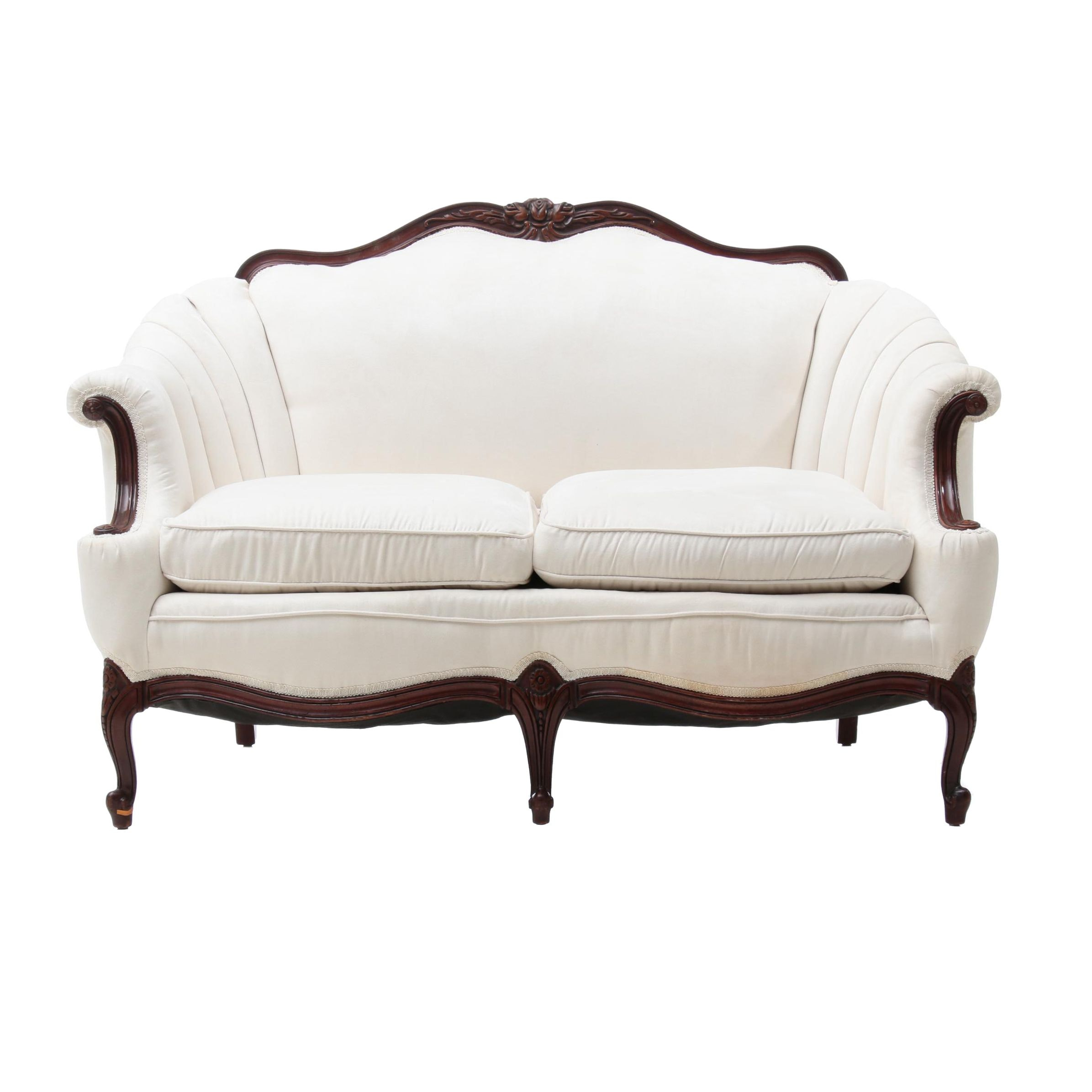 French Provincial Style Camel Back Love Seat in Cream, Late 20th Century