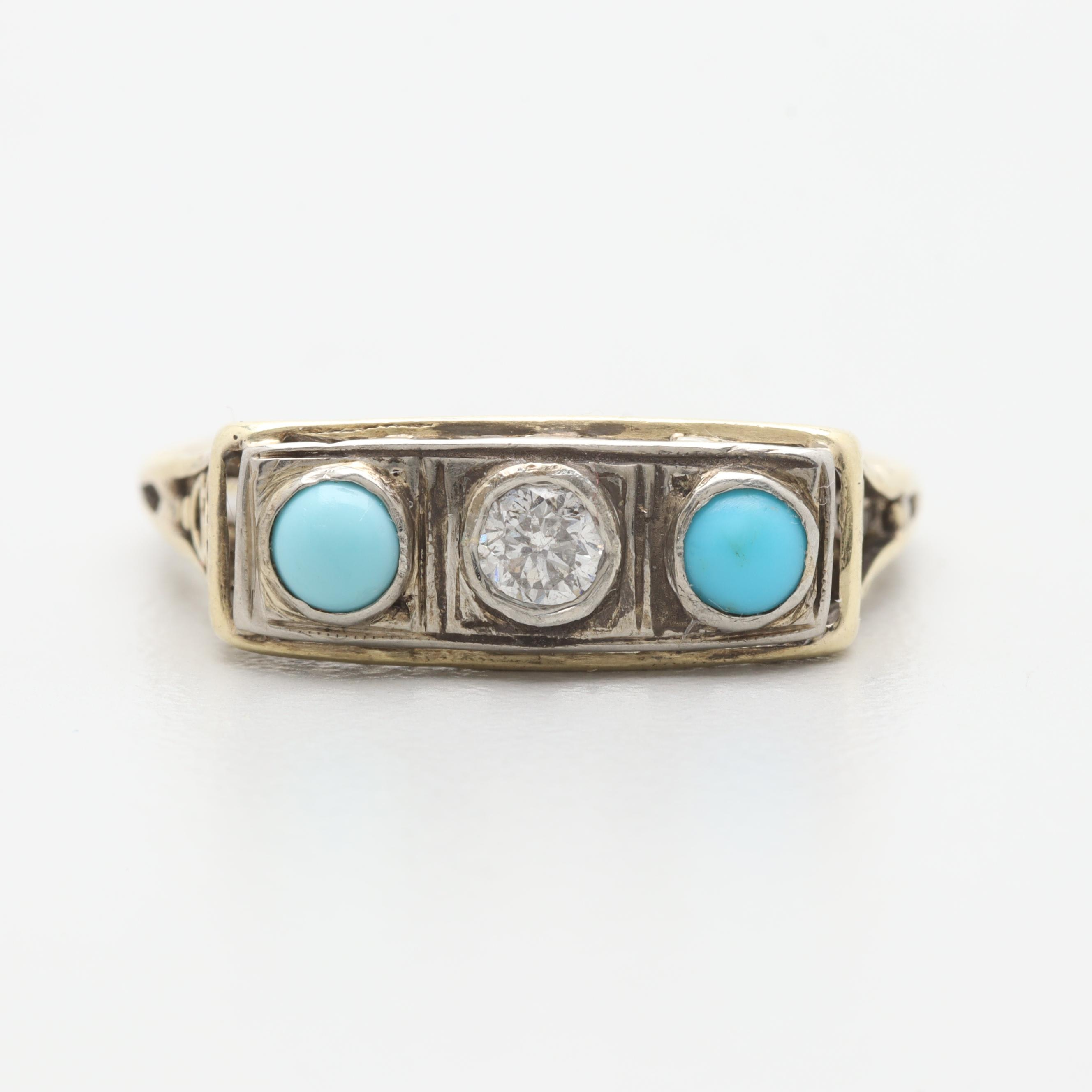 Art Deco 14K Yellow and White Gold Diamond and Turquoise Ring