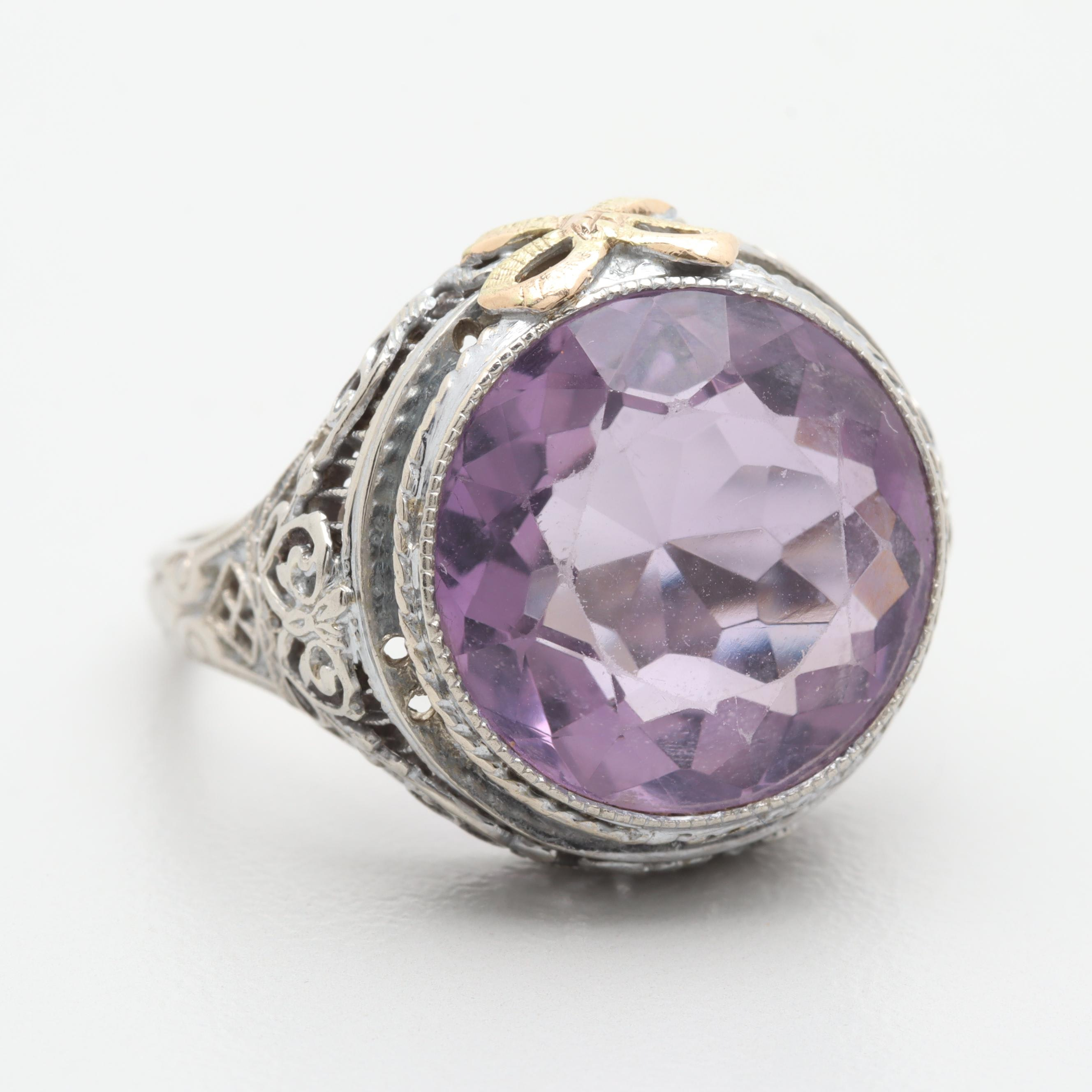 Edwardian 14K White Gold Amethyst Ring With Yellow Gold Accent