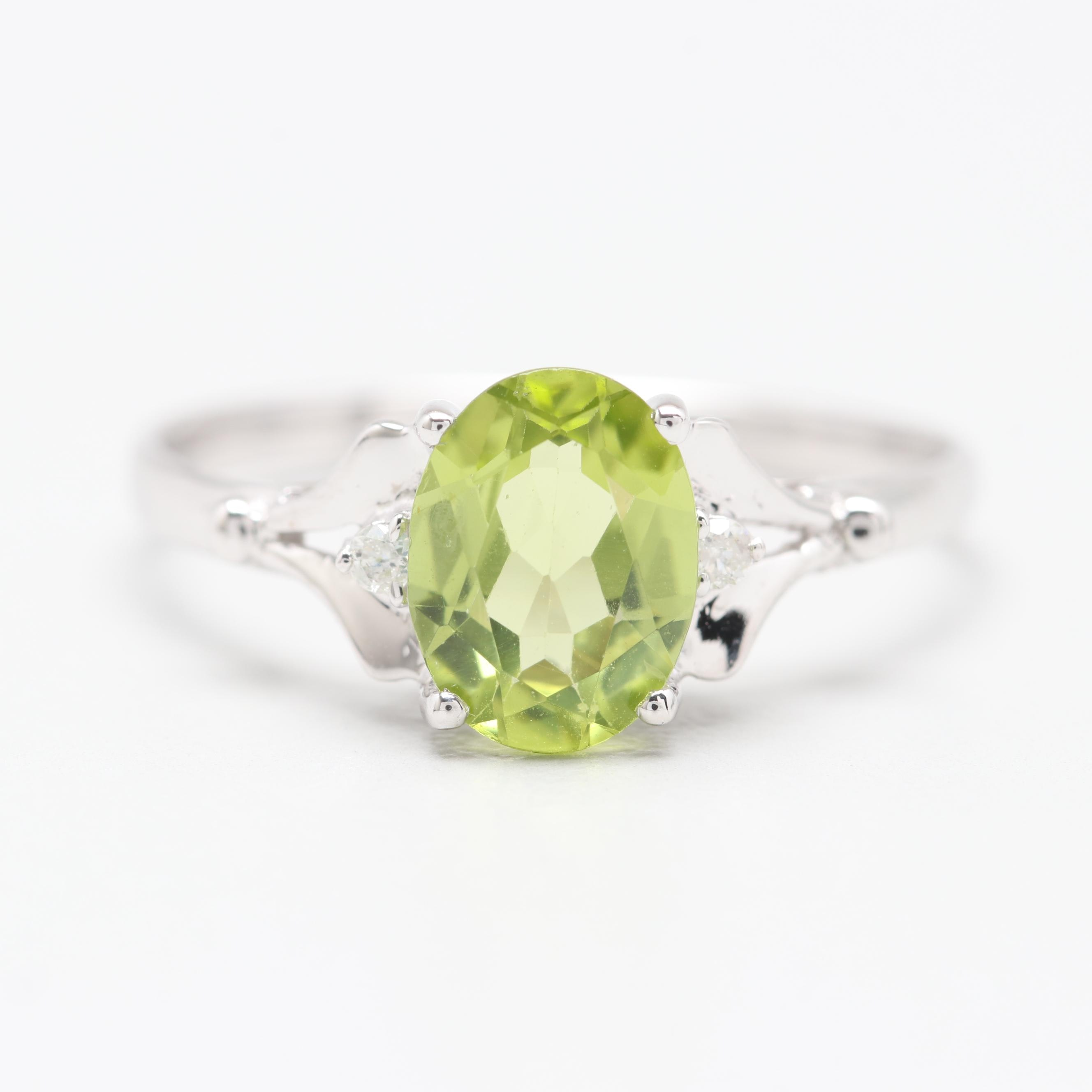 14K White Gold Peridot and Diamond Ring