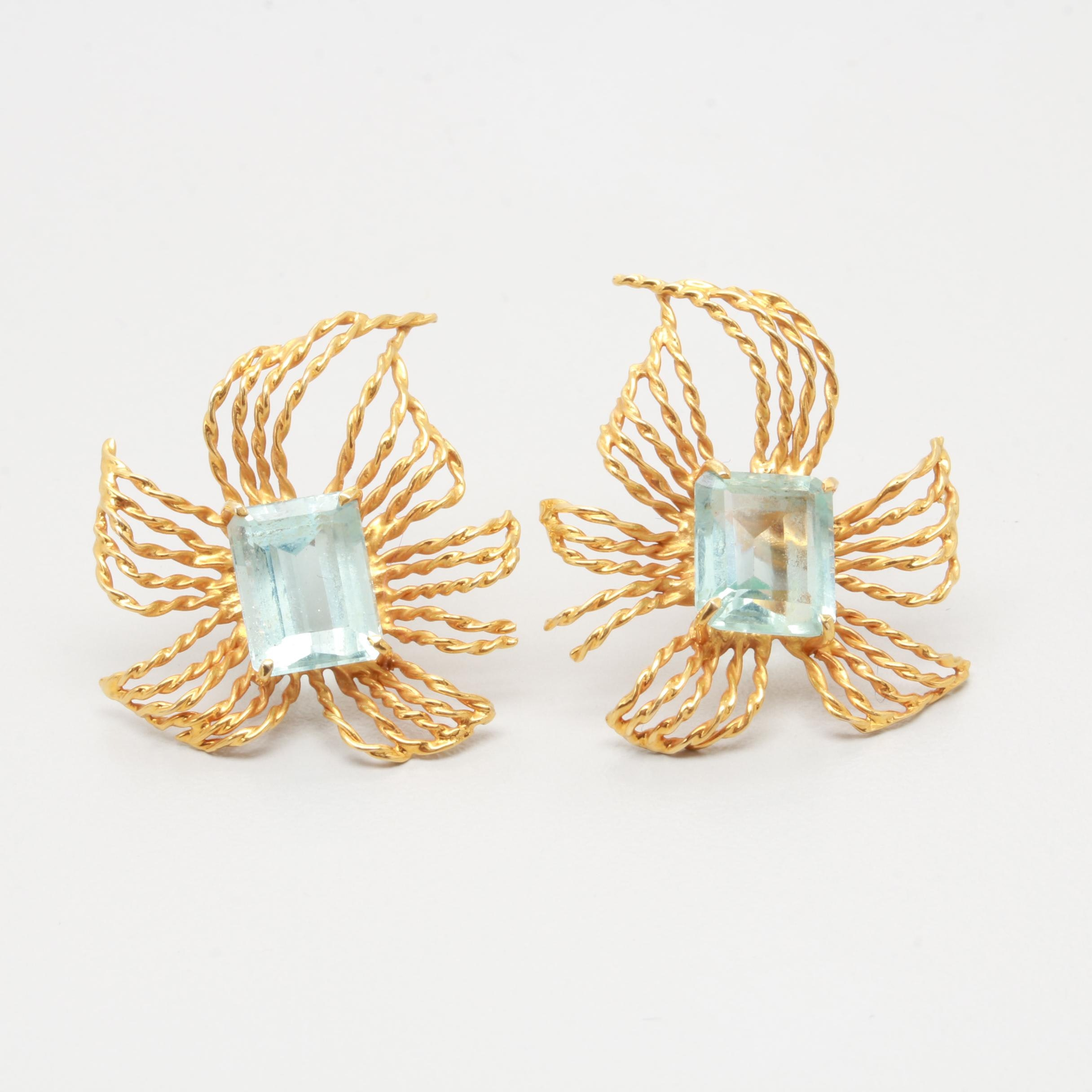 Vintage 14K Yellow Gold Aquamarine Earrings