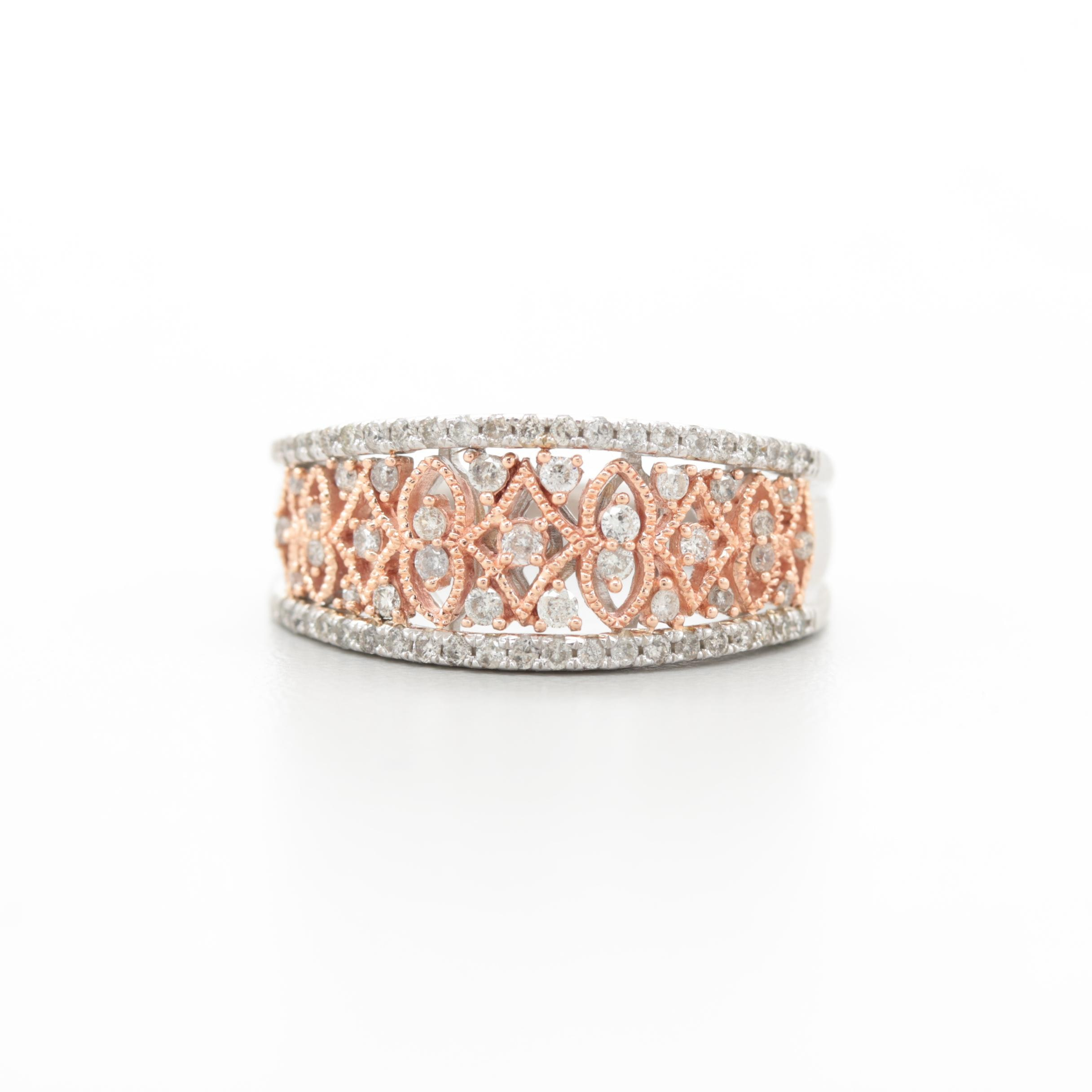 10K White Gold Diamond Ring with Rose Gold Openwork Accents