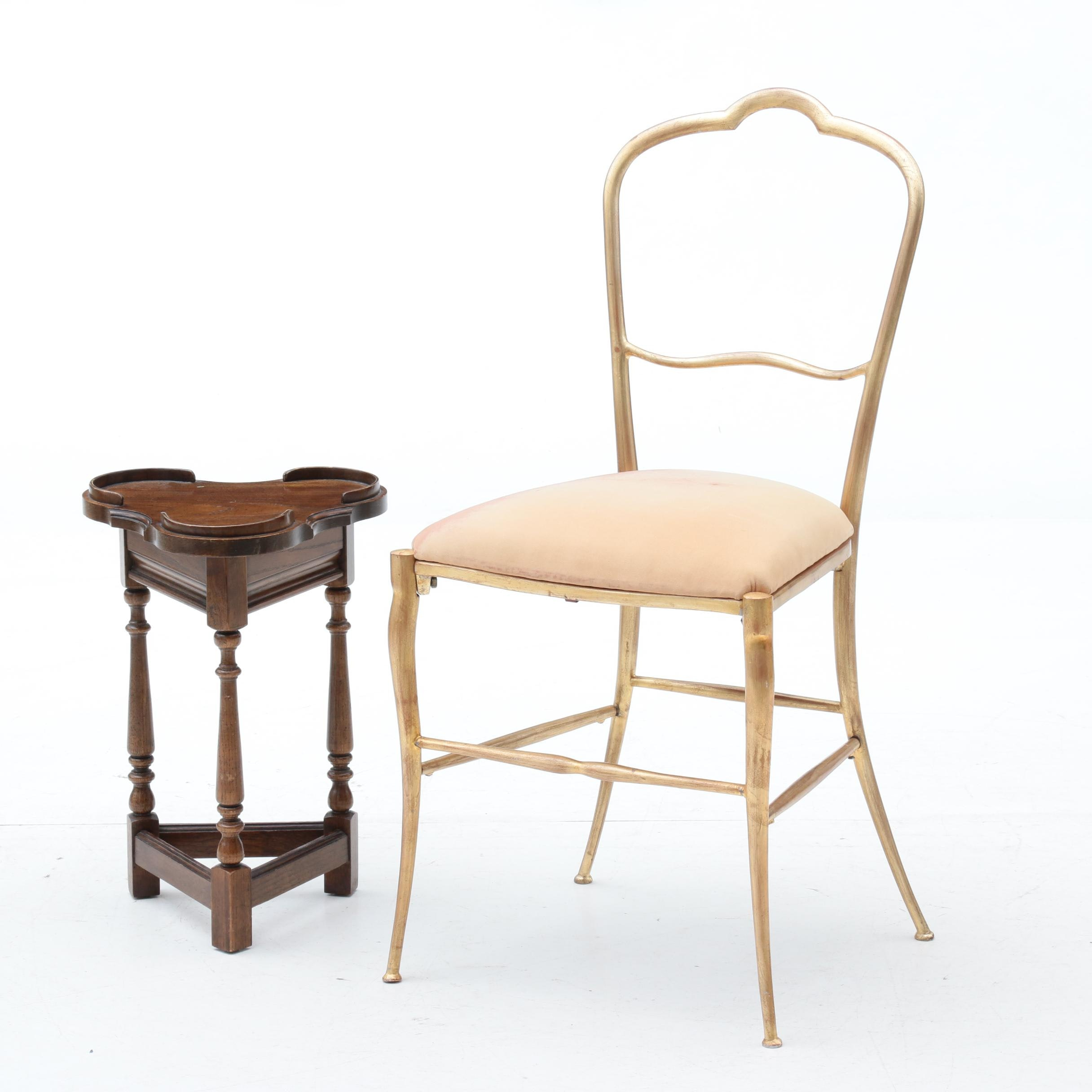Gold Tone Painted Side Chair and Oak Trefoil Occasional Table, Late 20th Century