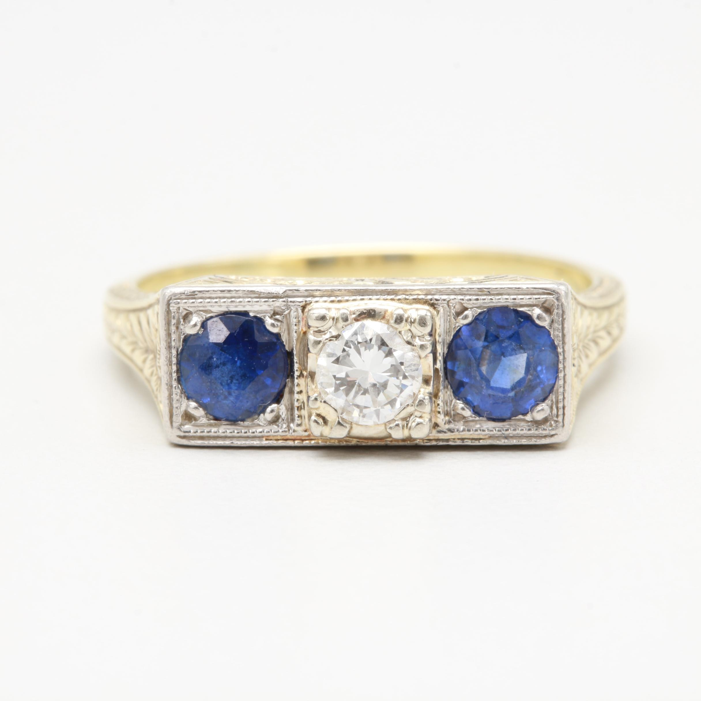 Art Deco 14K Yellow Gold and Platinum Diamond and Synthetic Sapphire Ring