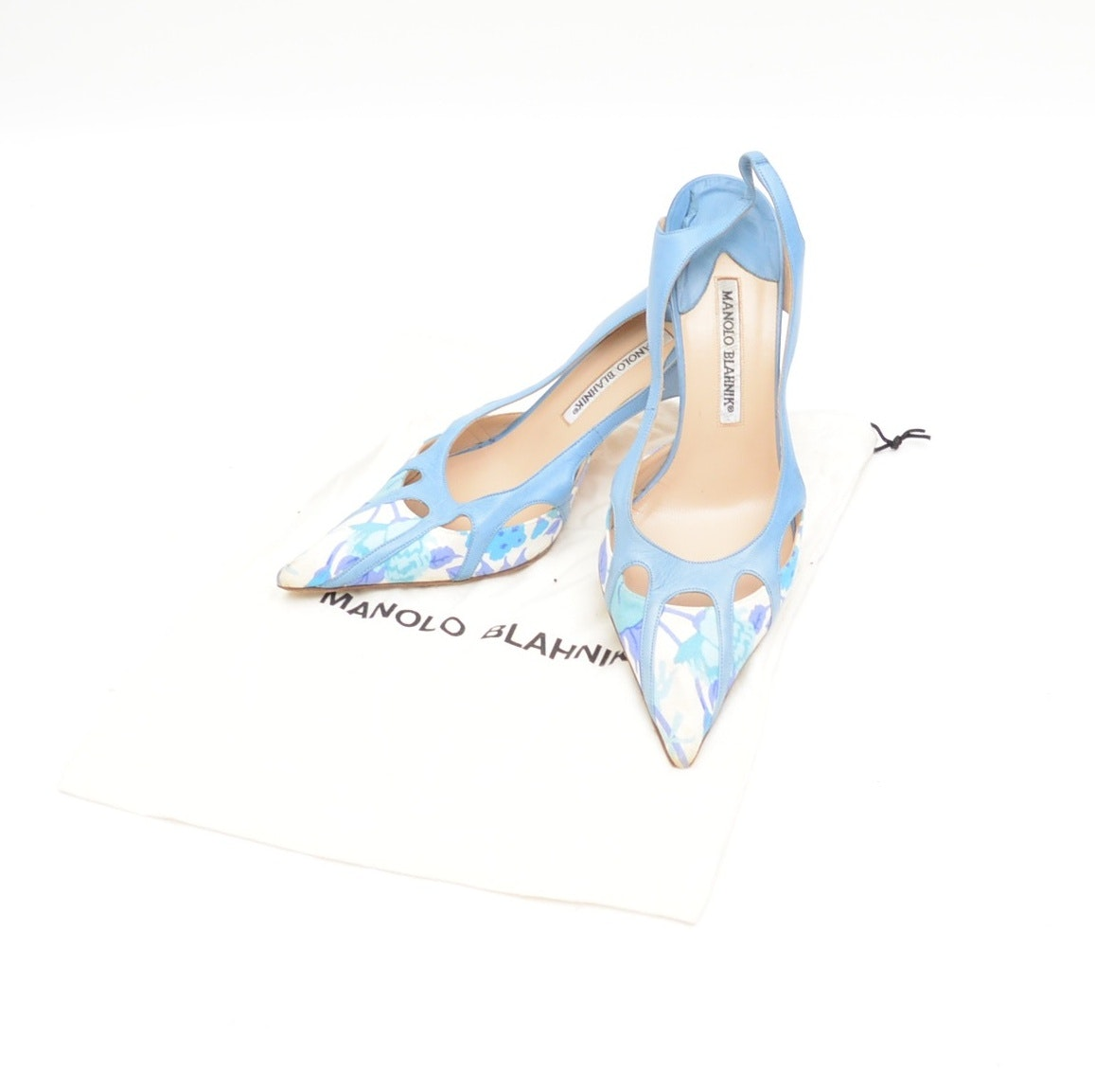 Pair of Manolo Blahnik Fabric and Leather Pointed Slingback Heels