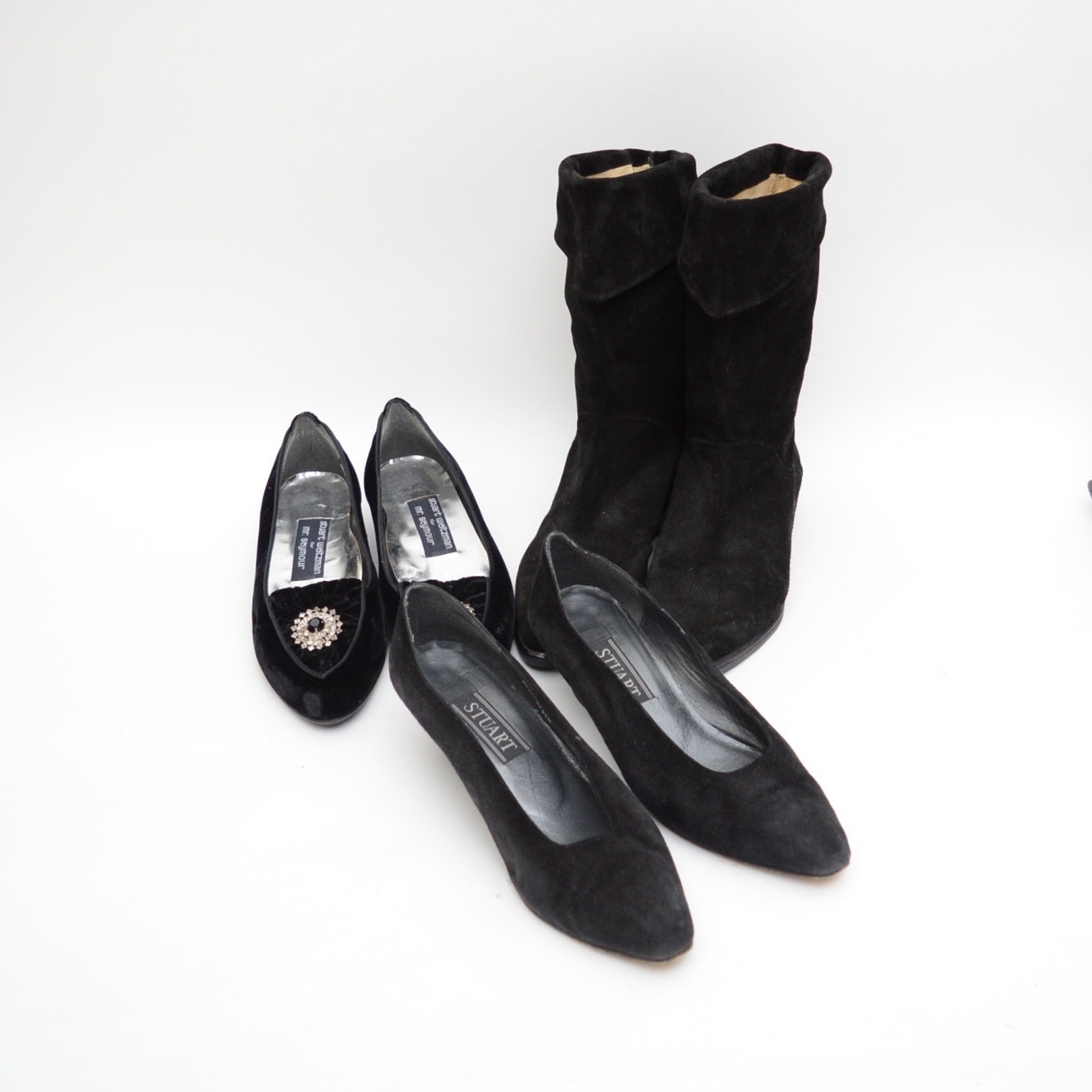 Selection of Women's Black Suede Shoes and Boots