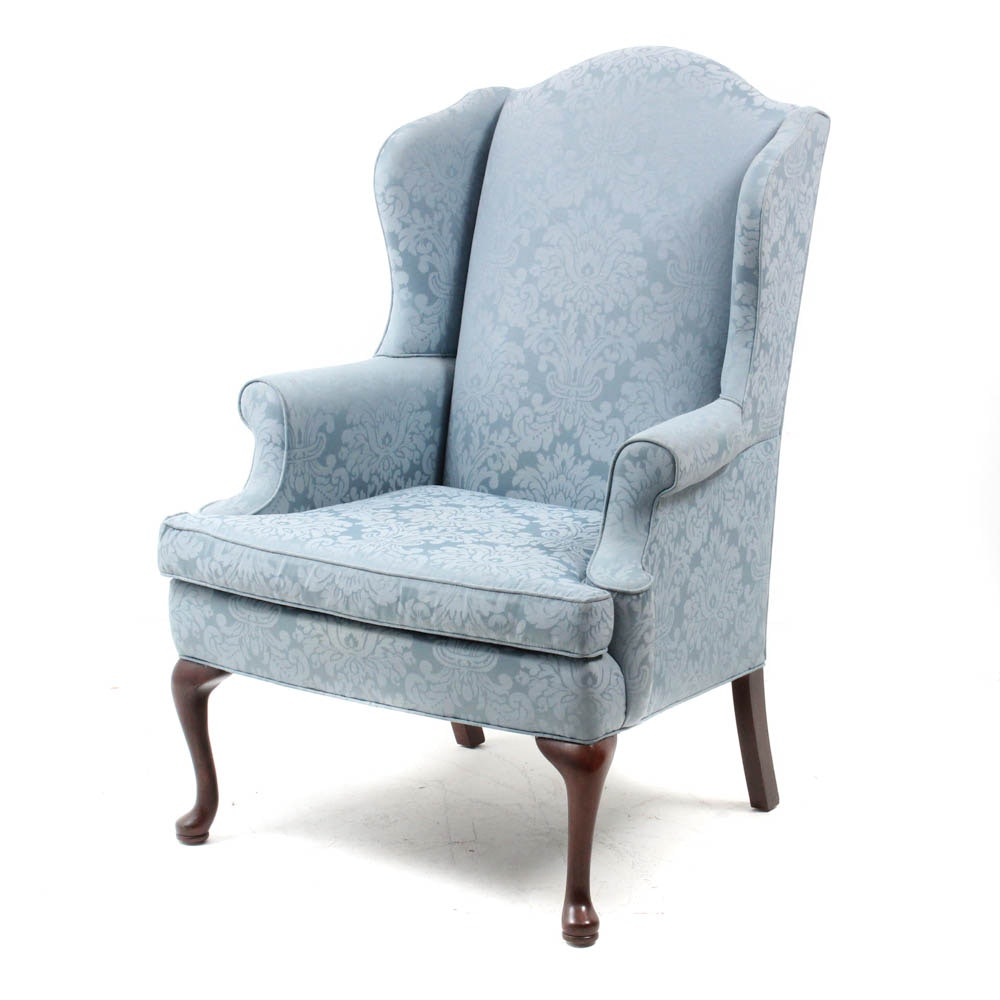 Vintage Queen Anne Style Upholstered Wingback Armchair by Sherrill