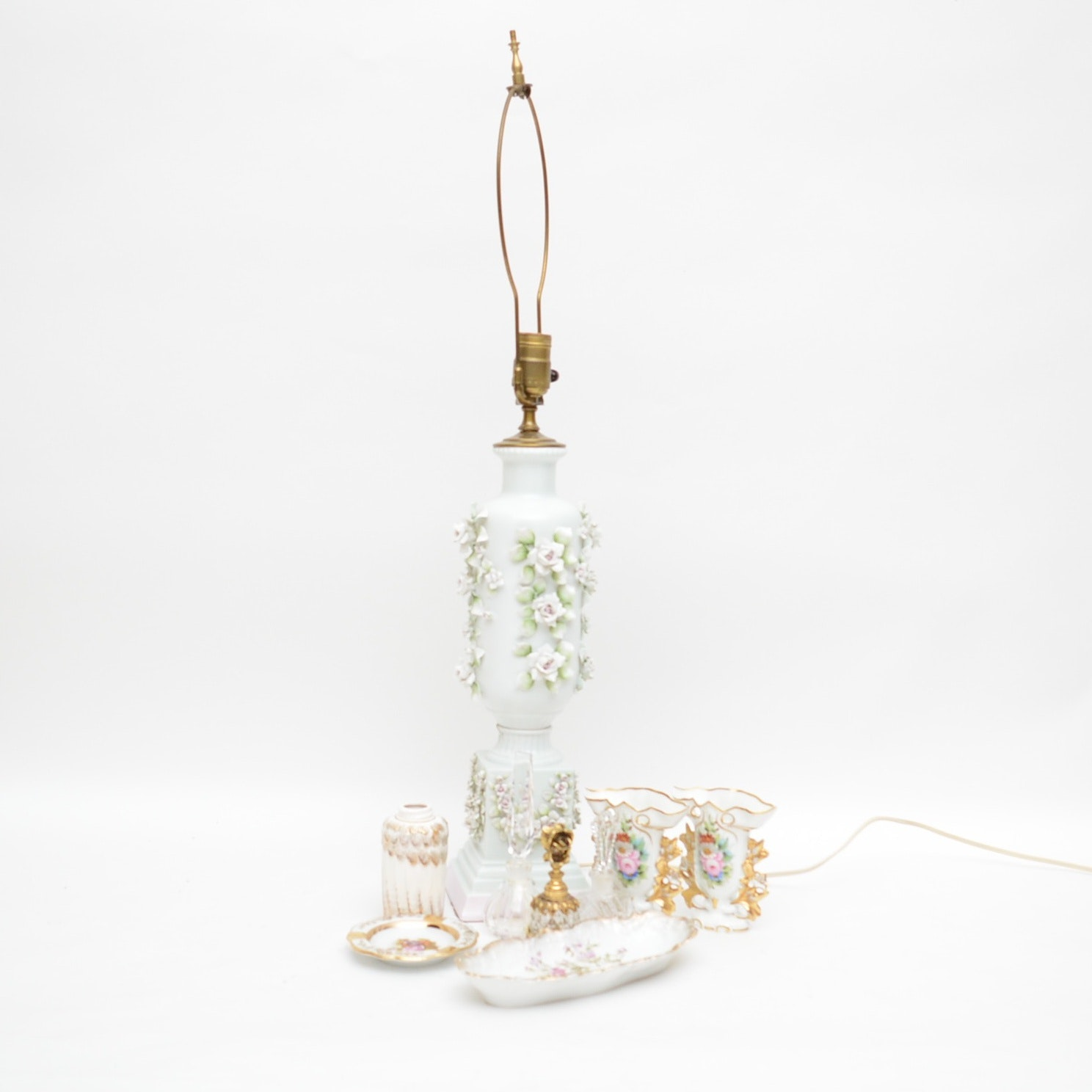 Capodimonte Style Porcelain Table Lamp, Perfume Bottles and Tableware
