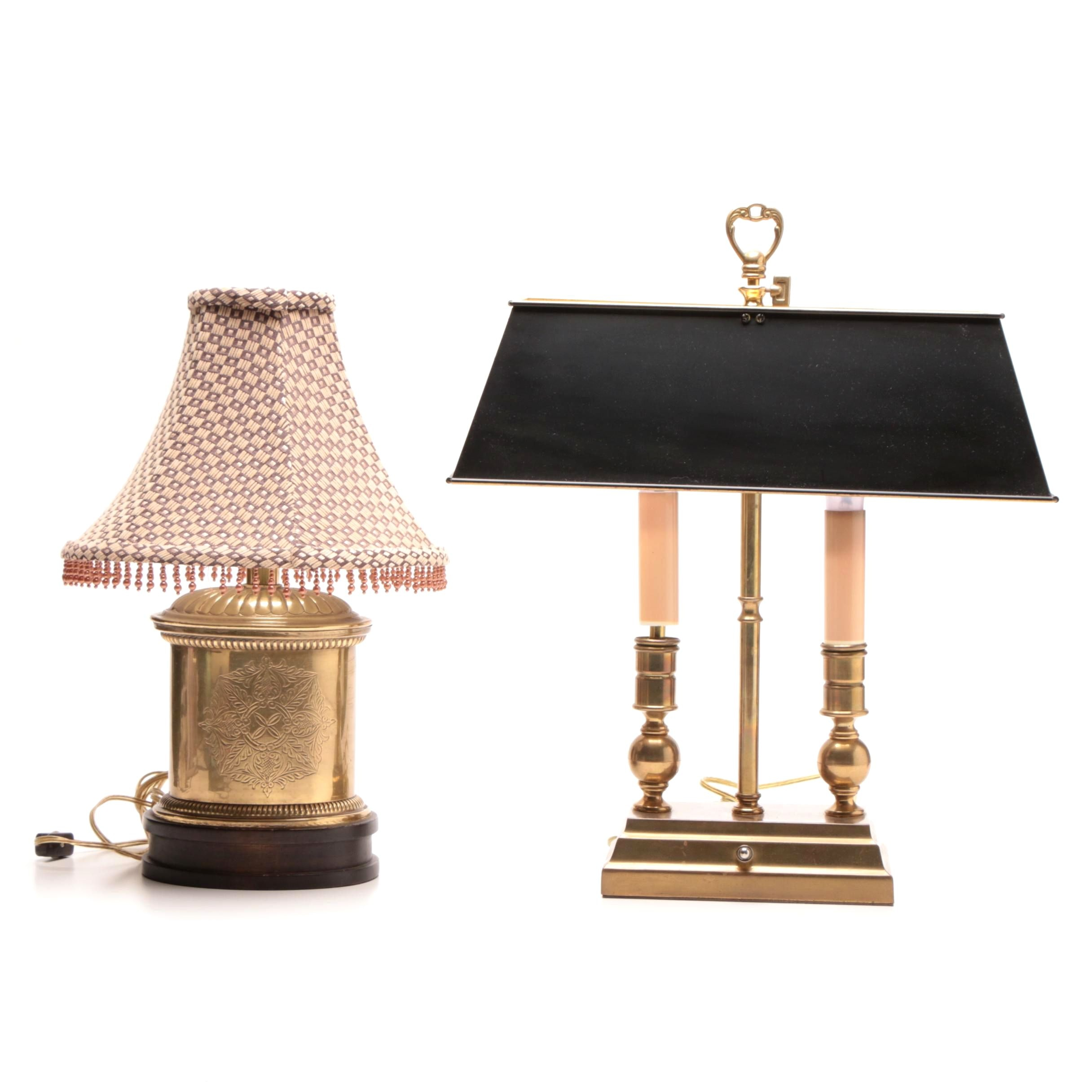 Bouillotte Brass and Metal Table Lamp and Decorative Brass and Wood Lamp