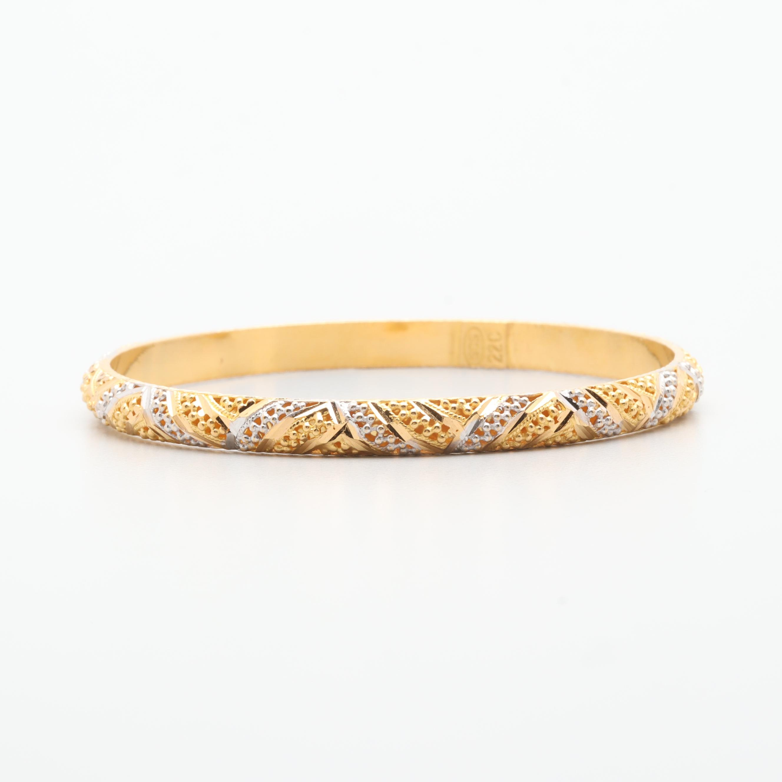 14K Yellow Gold Bangle Bracelet with White Gold Accents
