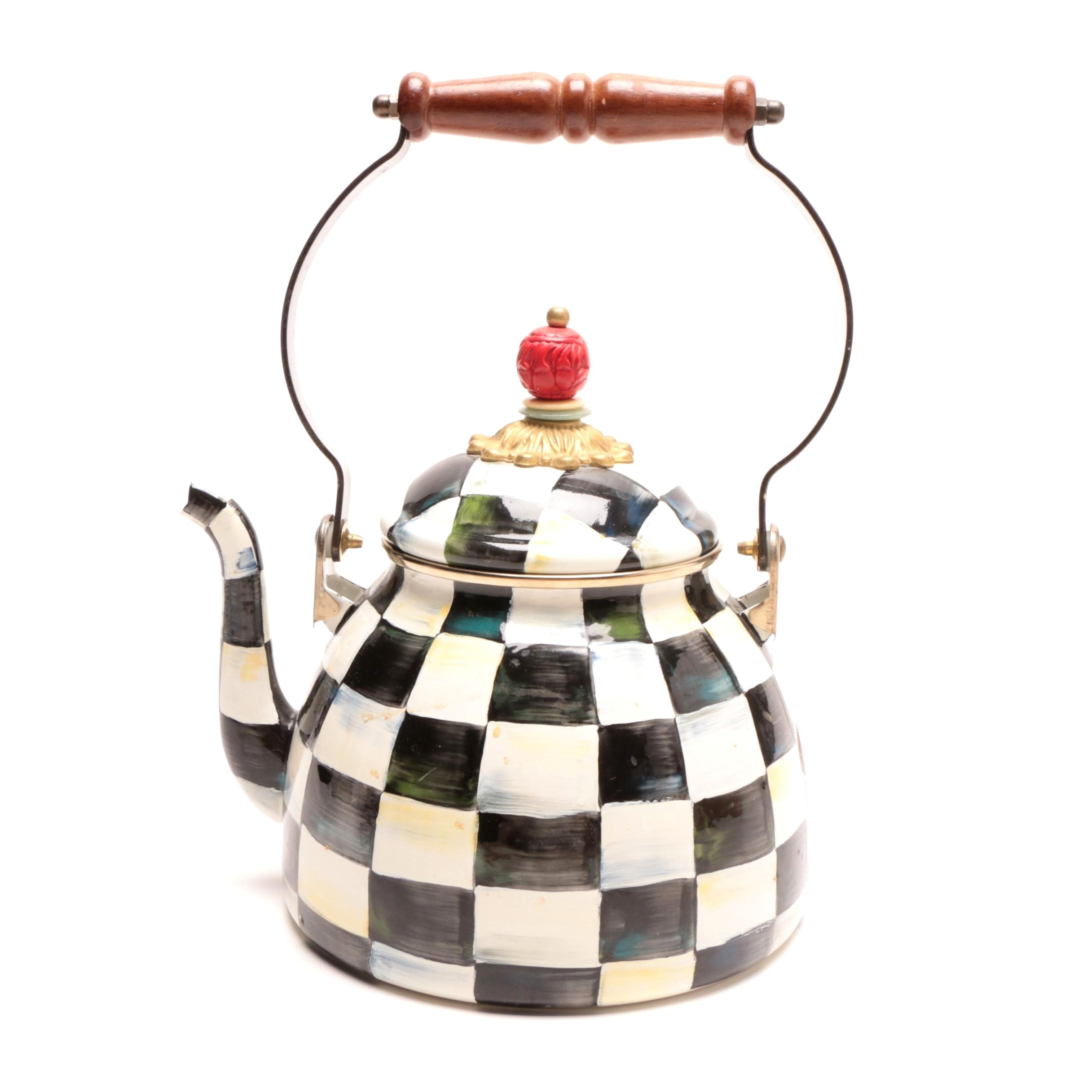 MacKenzie-Childs Enamel Decorated Checkerboard Teapot