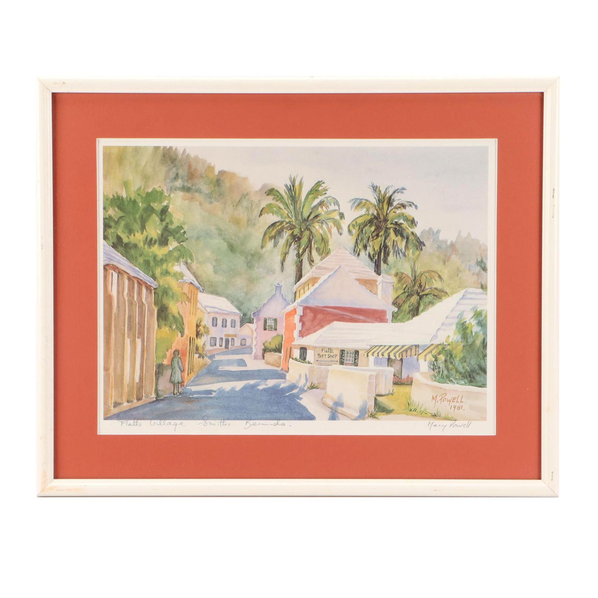 """Mary Powell Offset Lithograph """"Flatts Village - Smiths, Bermuda"""""""