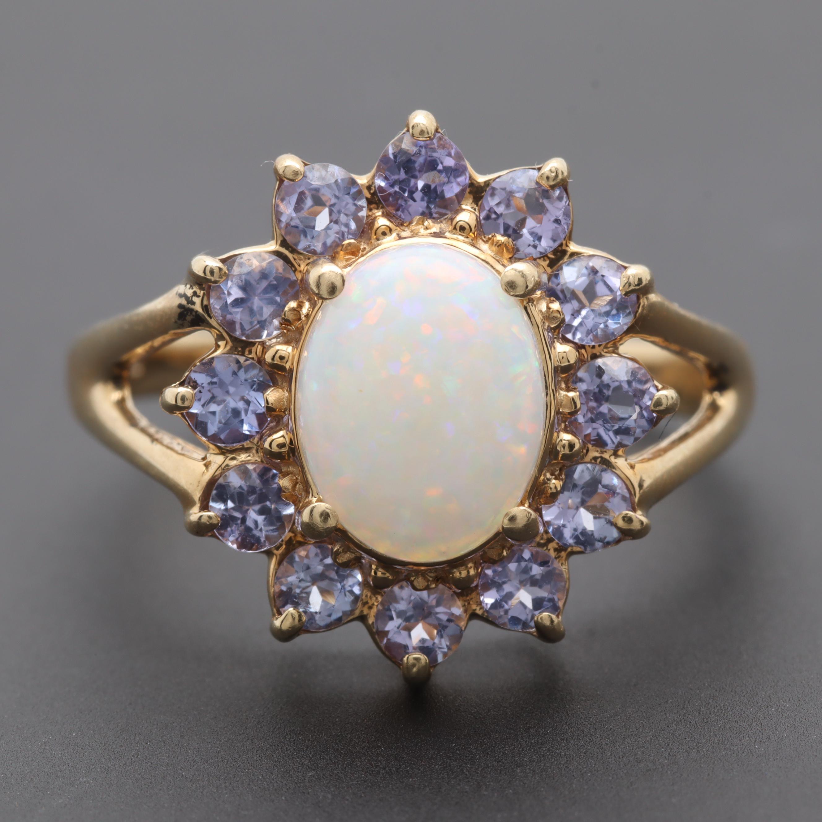 Alwand Vahan 14K Yellow Gold Opal and Tanzanite Ring