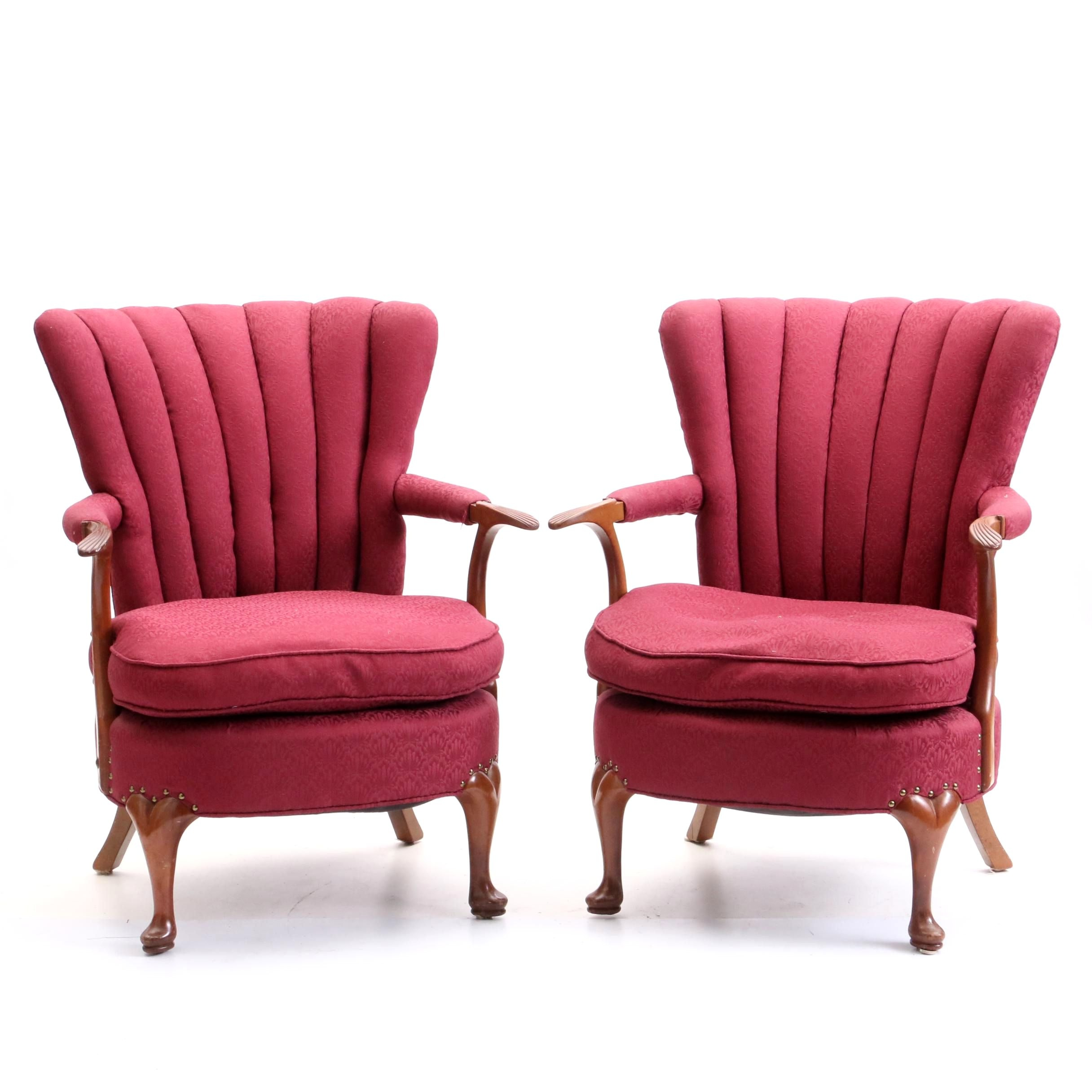 Queen Anne Style Upholstered Wingback Armchairs, Late 20th Century