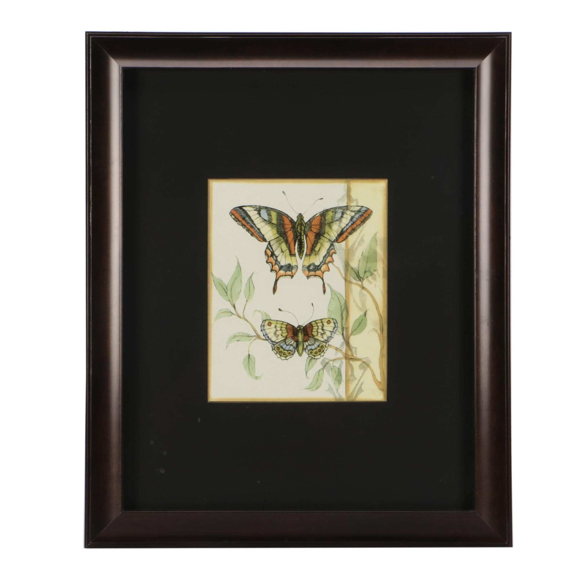 Decorative Butterfly-Themed Offset Lithograph Wall Decor