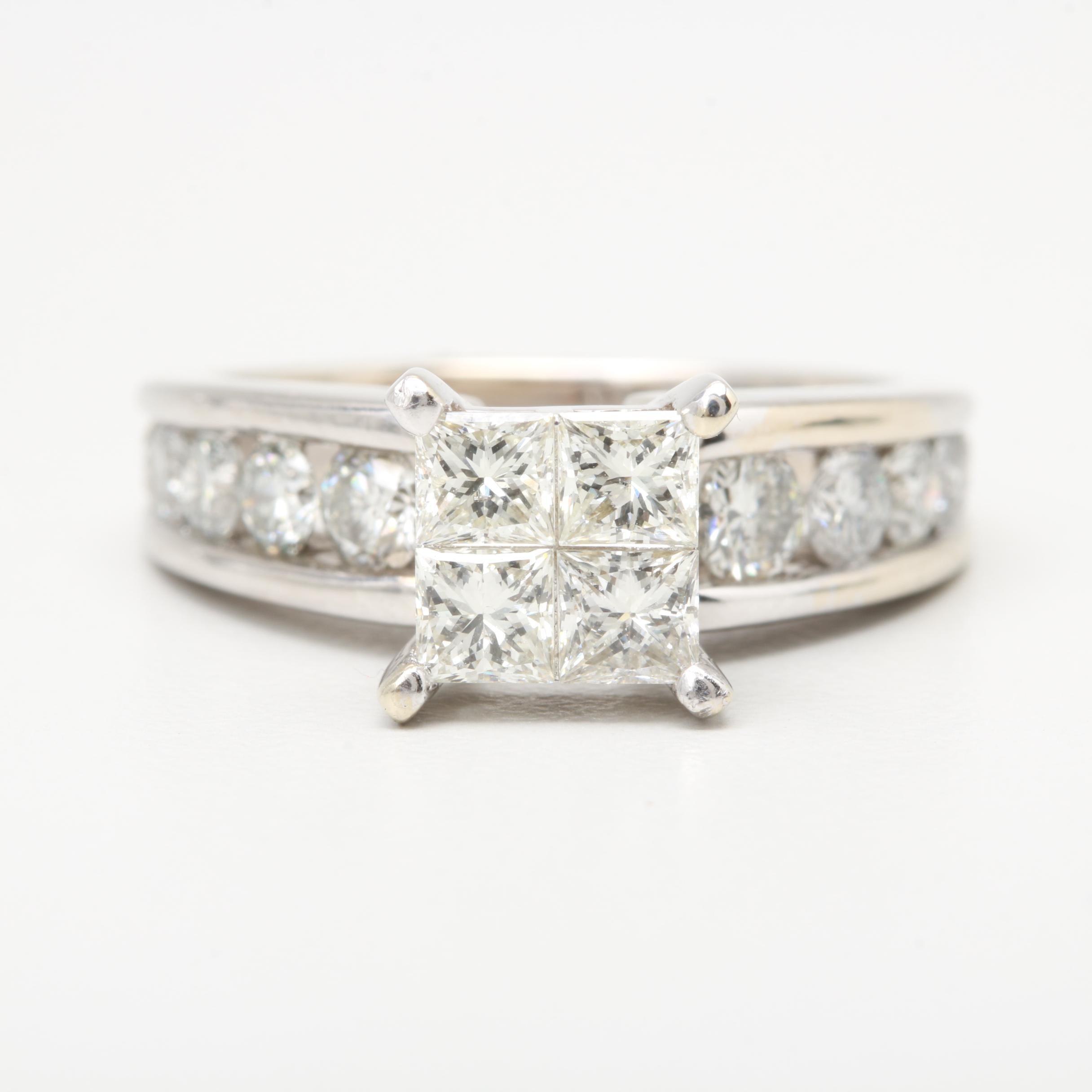 14K White Gold 1.80 CTW Diamond Ring