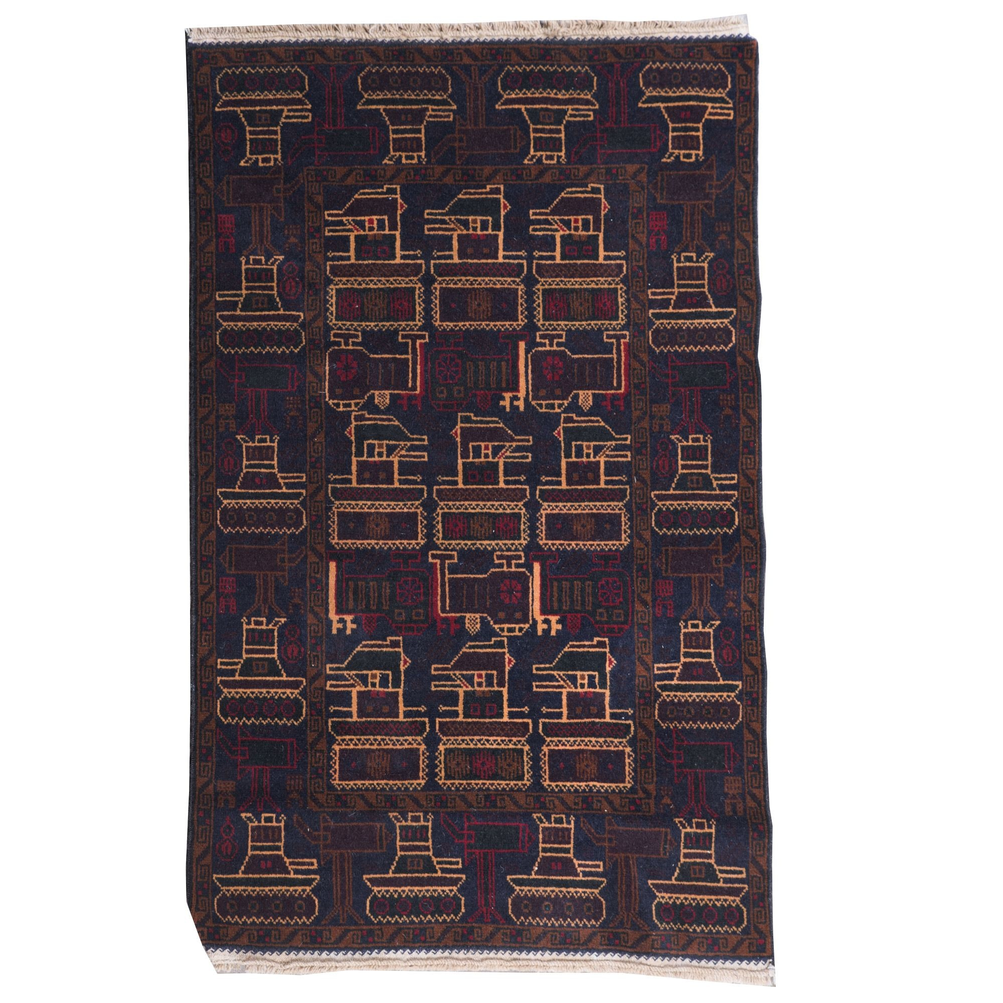 """Hand-Knotted Afghani Baluch """"War"""" Wool Rug"""