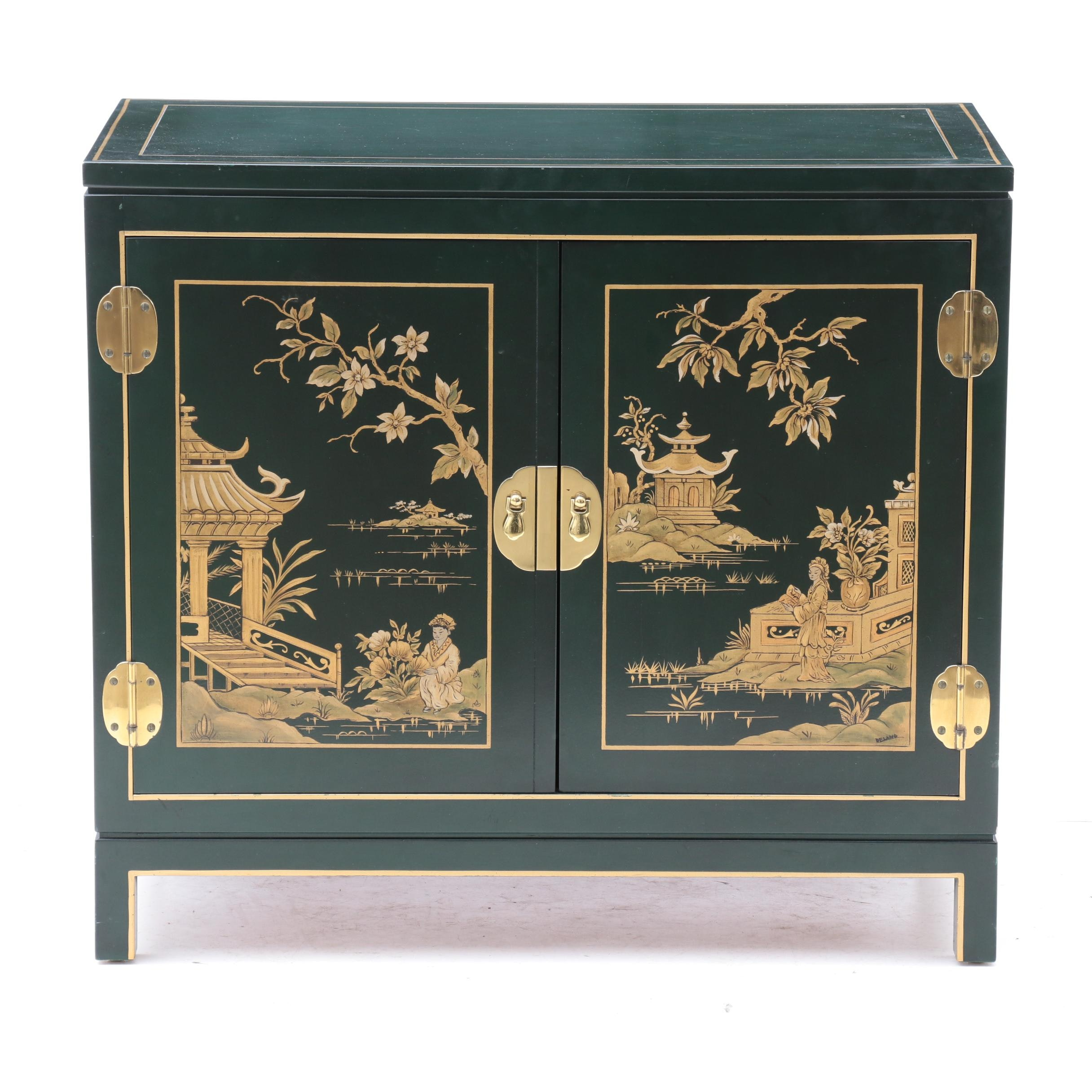 Asian Style Green Painted Cabinet by Kindel Furniture Co., Late 20th Century