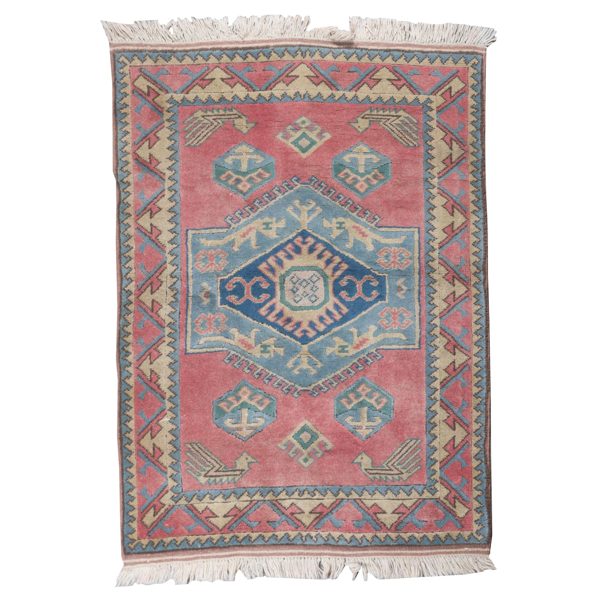 Hand-Knotted Turkish Shirvan Wool Rug