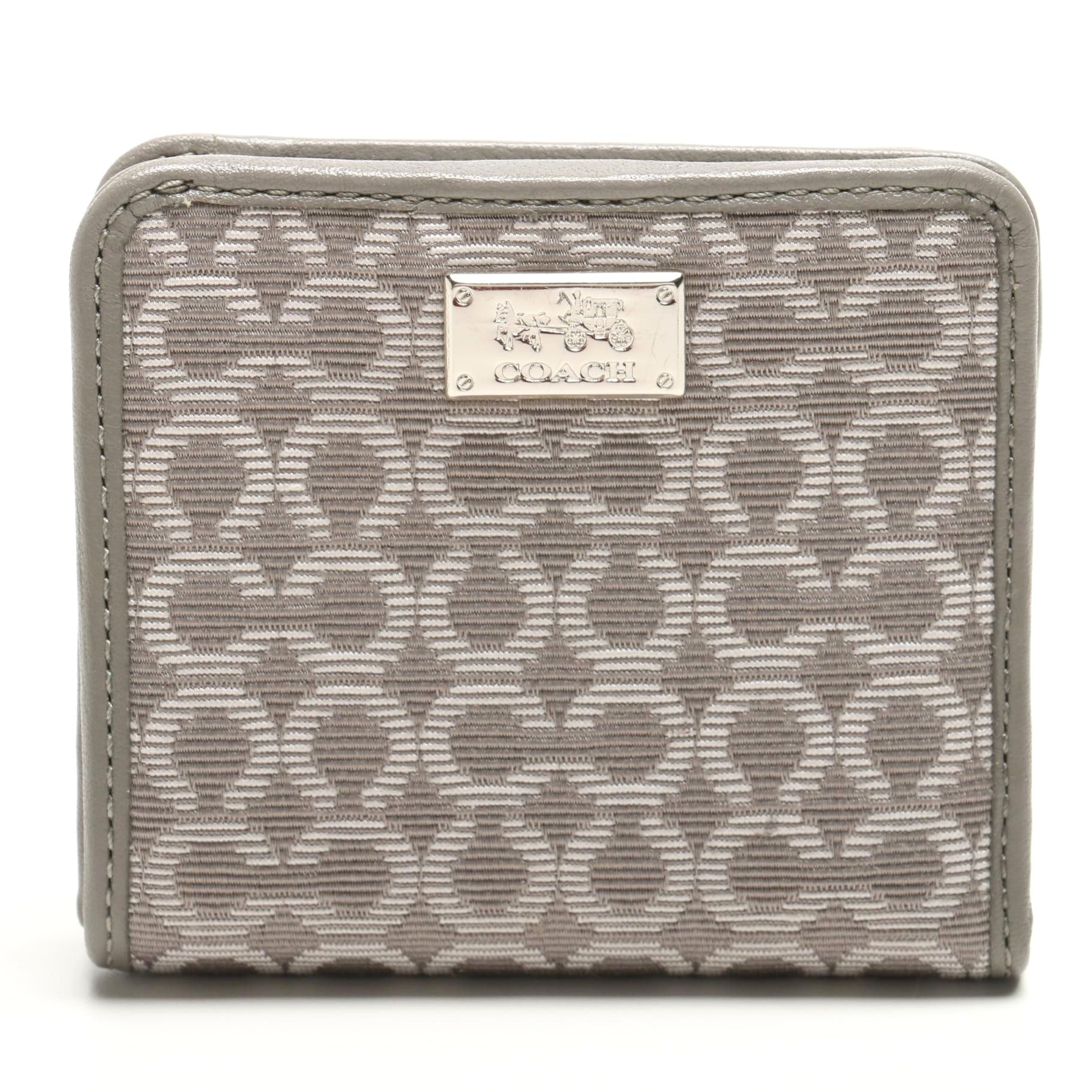 New Coach Monogram Grey Leather Wallet With Tag