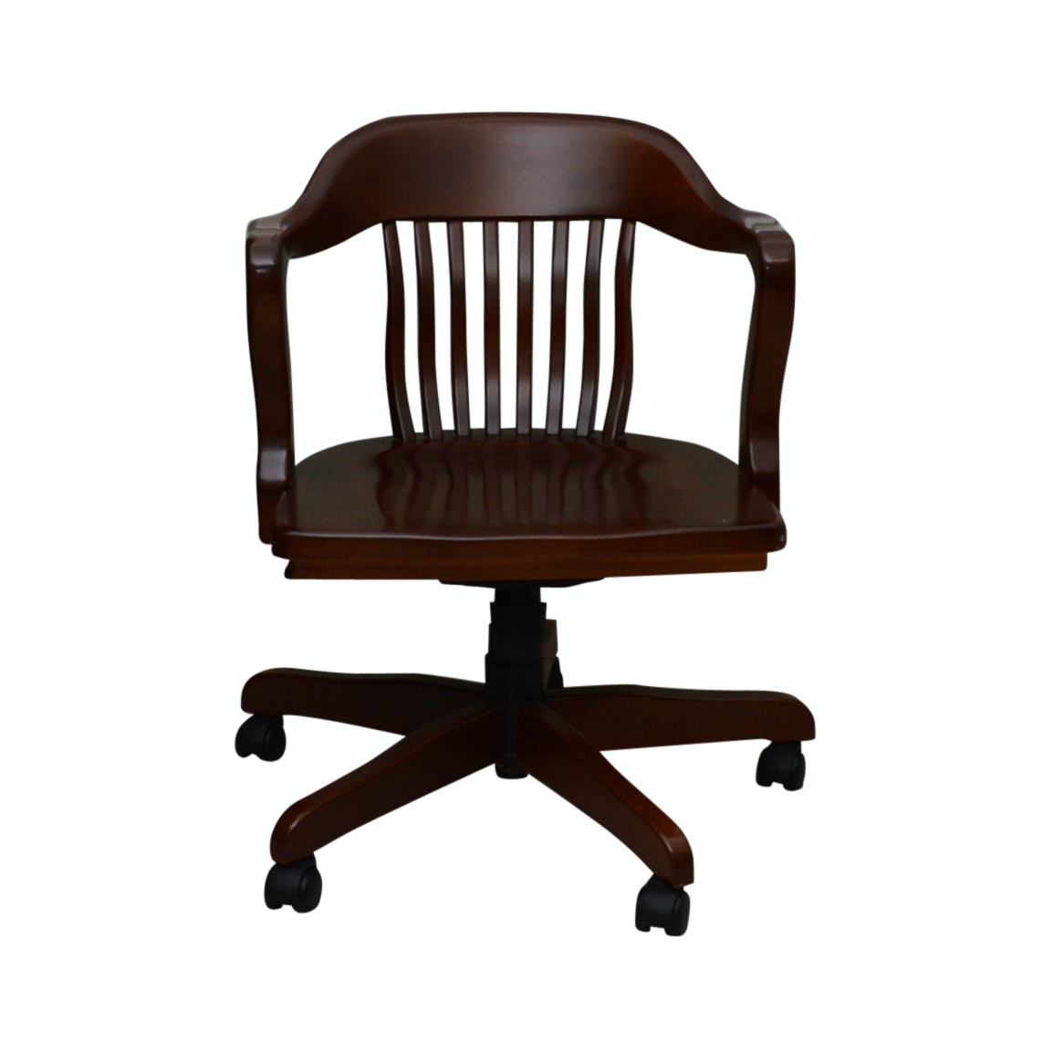 Mission Style Mahogany Finish Swivel Office Chair, 20th Century
