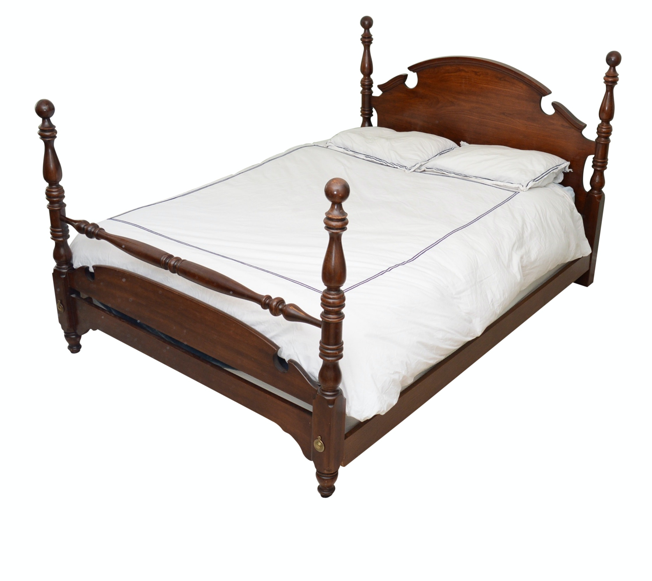 Federal Style Queen Size Cherry Bed Frame by Thomasville, Late 20th Century