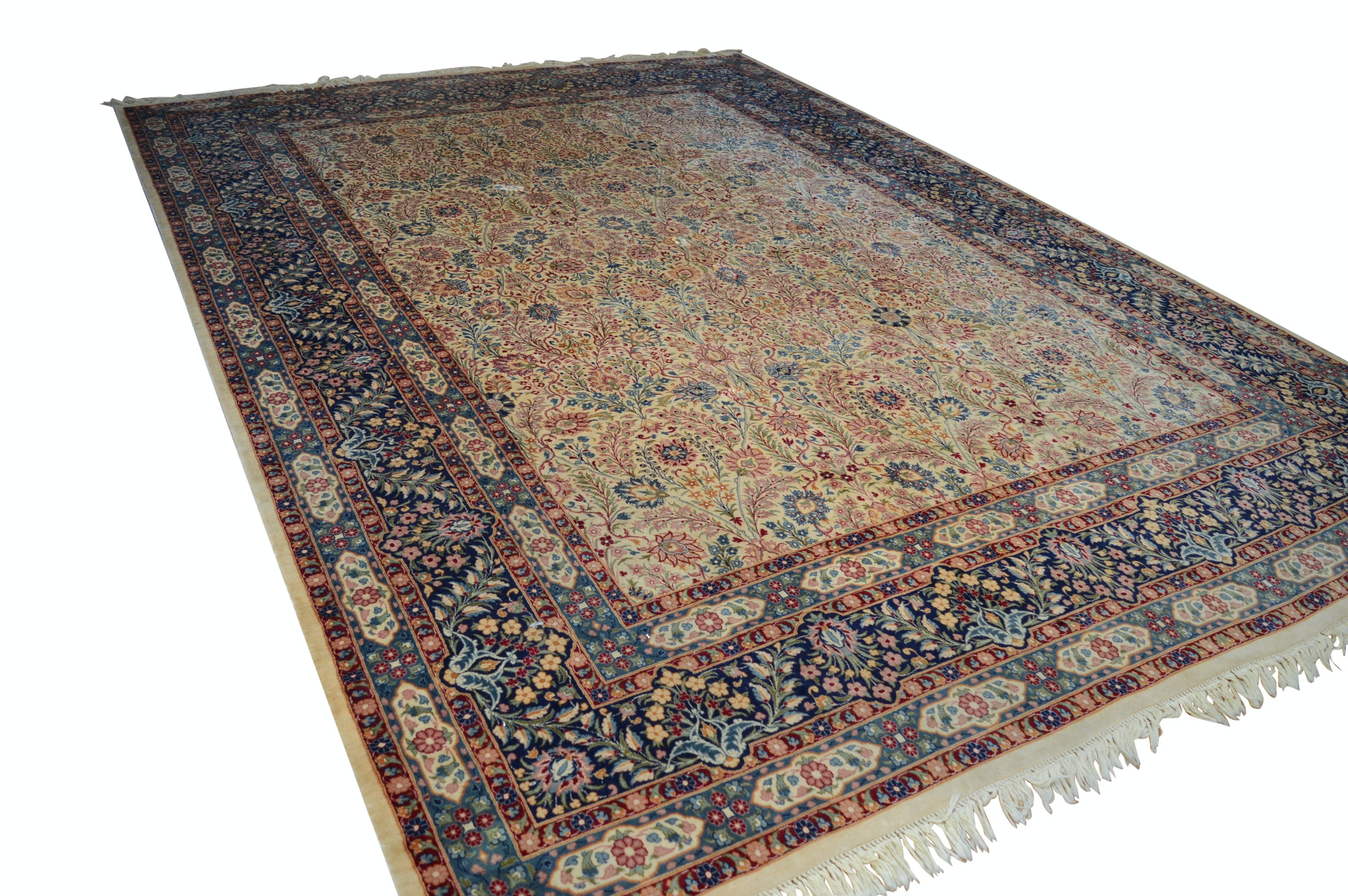 Fine Hand-Knotted Indo-Persian Artificial Silk, Wool and Cotton Room Sized Rug