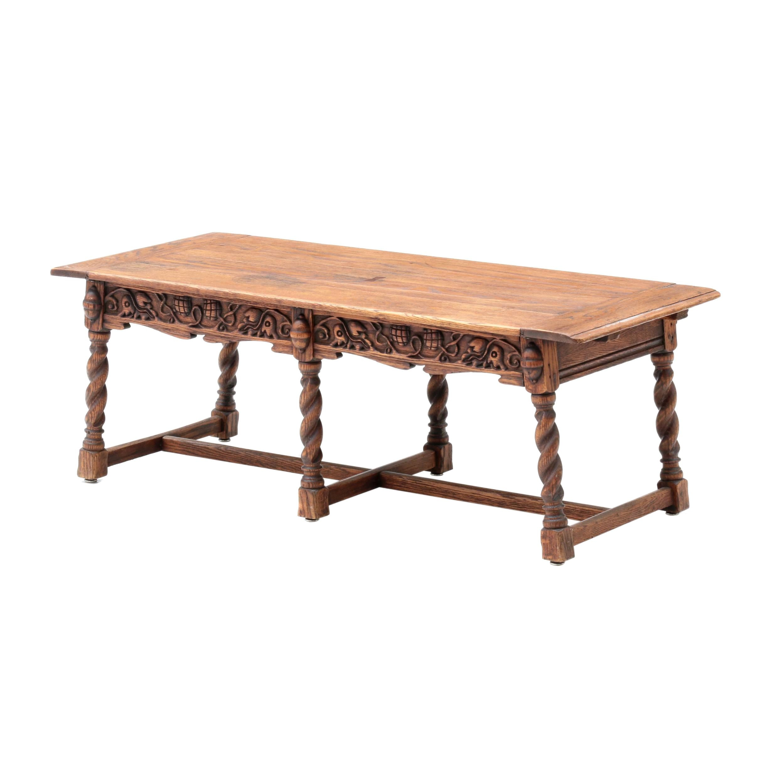 "Renaissance Revival Style Coffee Table ""Feudal Oak"" by Jamestown Lounge Co."