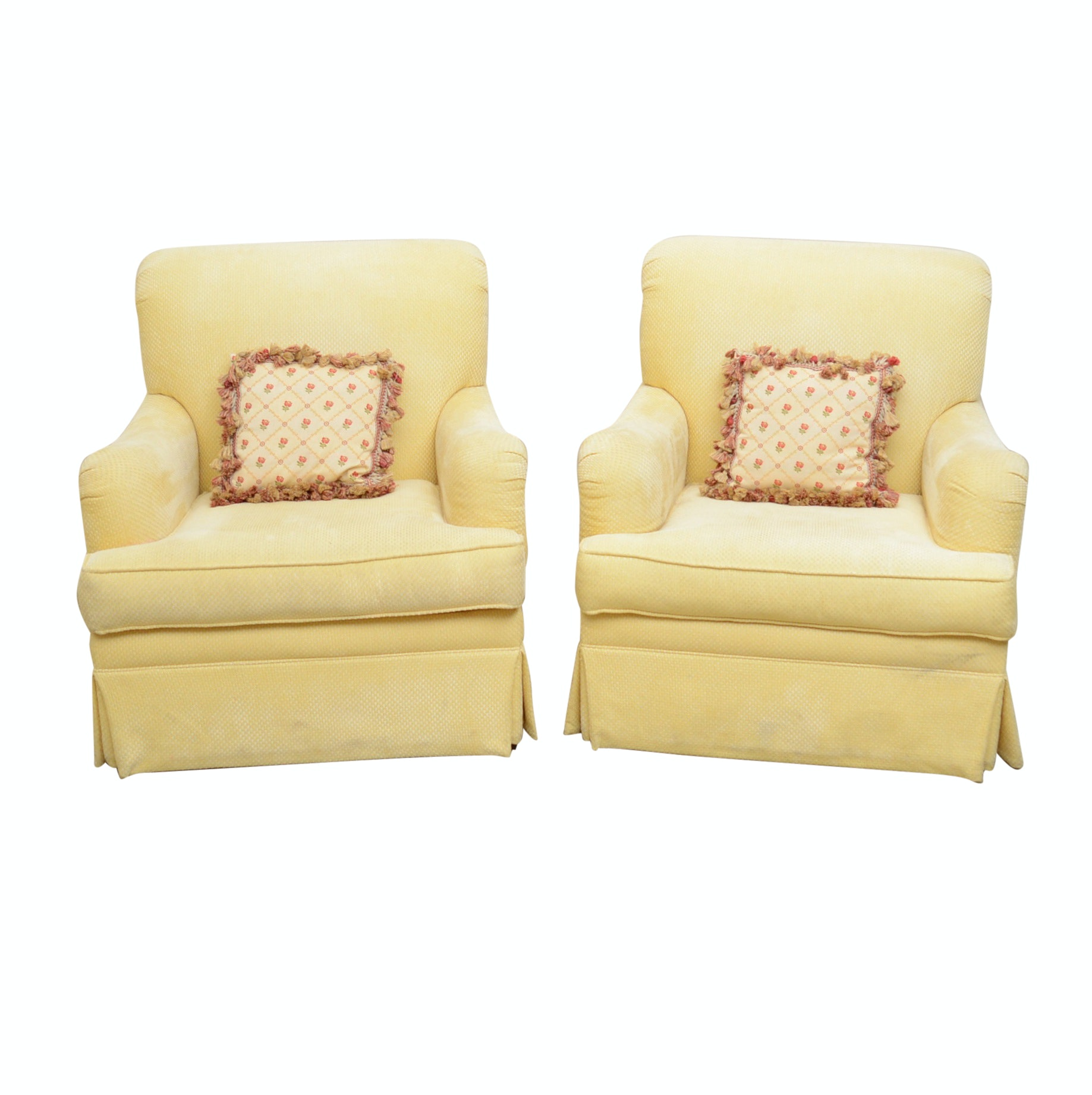 Pair of Upholstered Armchairs, Late to Mid 20th Century