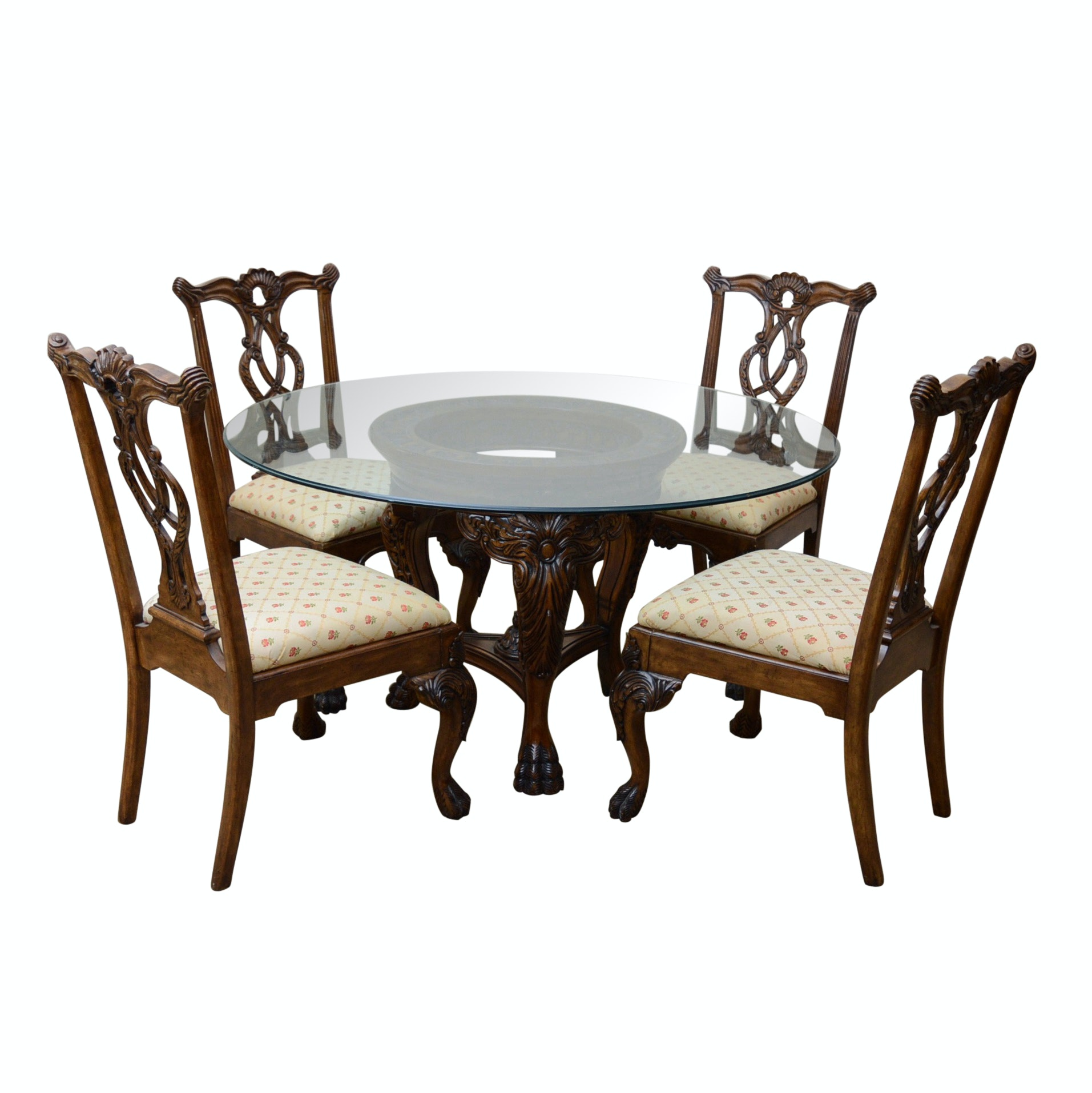 Federal Style Circular Glass Top Dining Table with Four Chairs, 20th Century