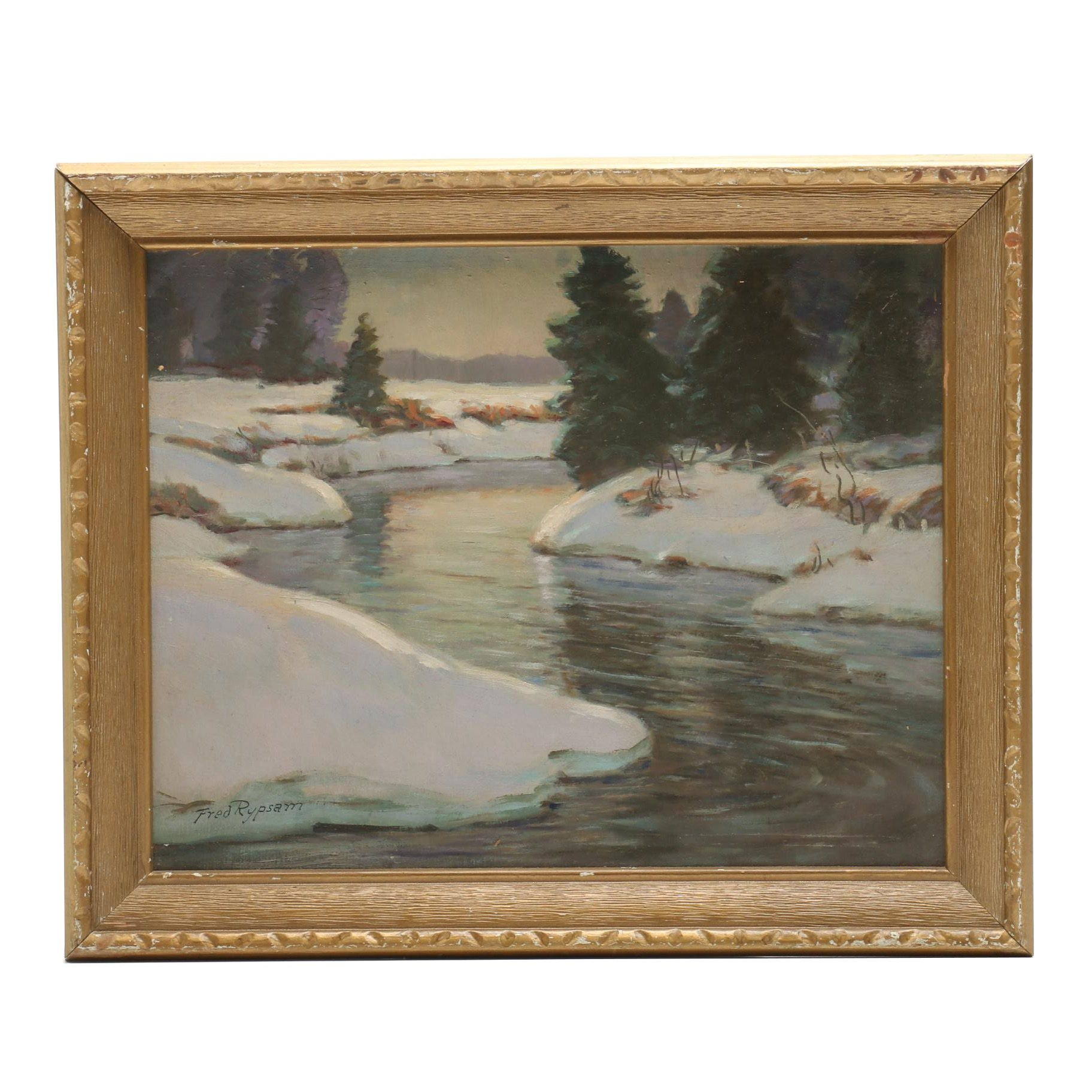 Fred Rypsam Oil Painting of a Winter Landscape