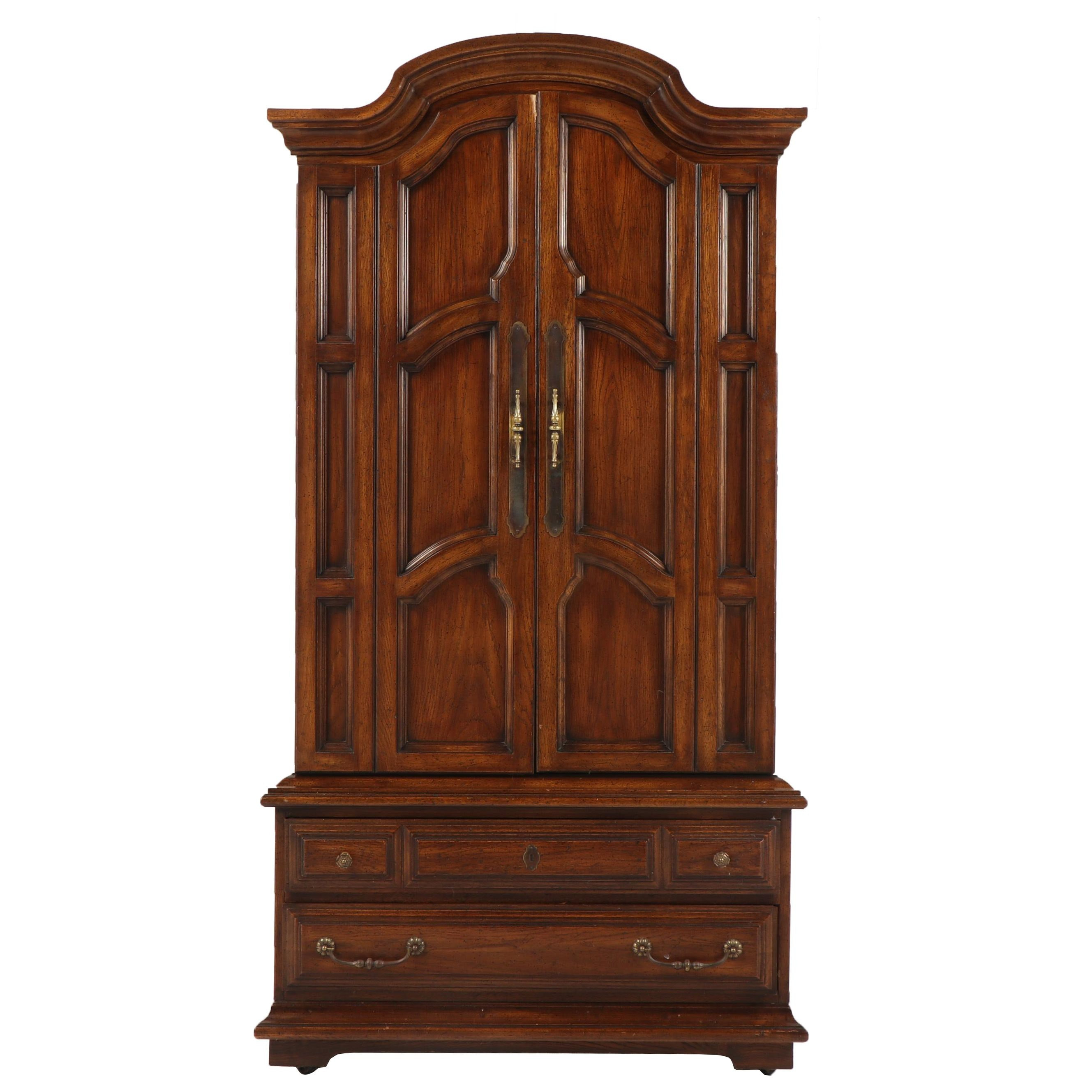 Walnut Finish Armoire Chest by Continental, Late 20th Century