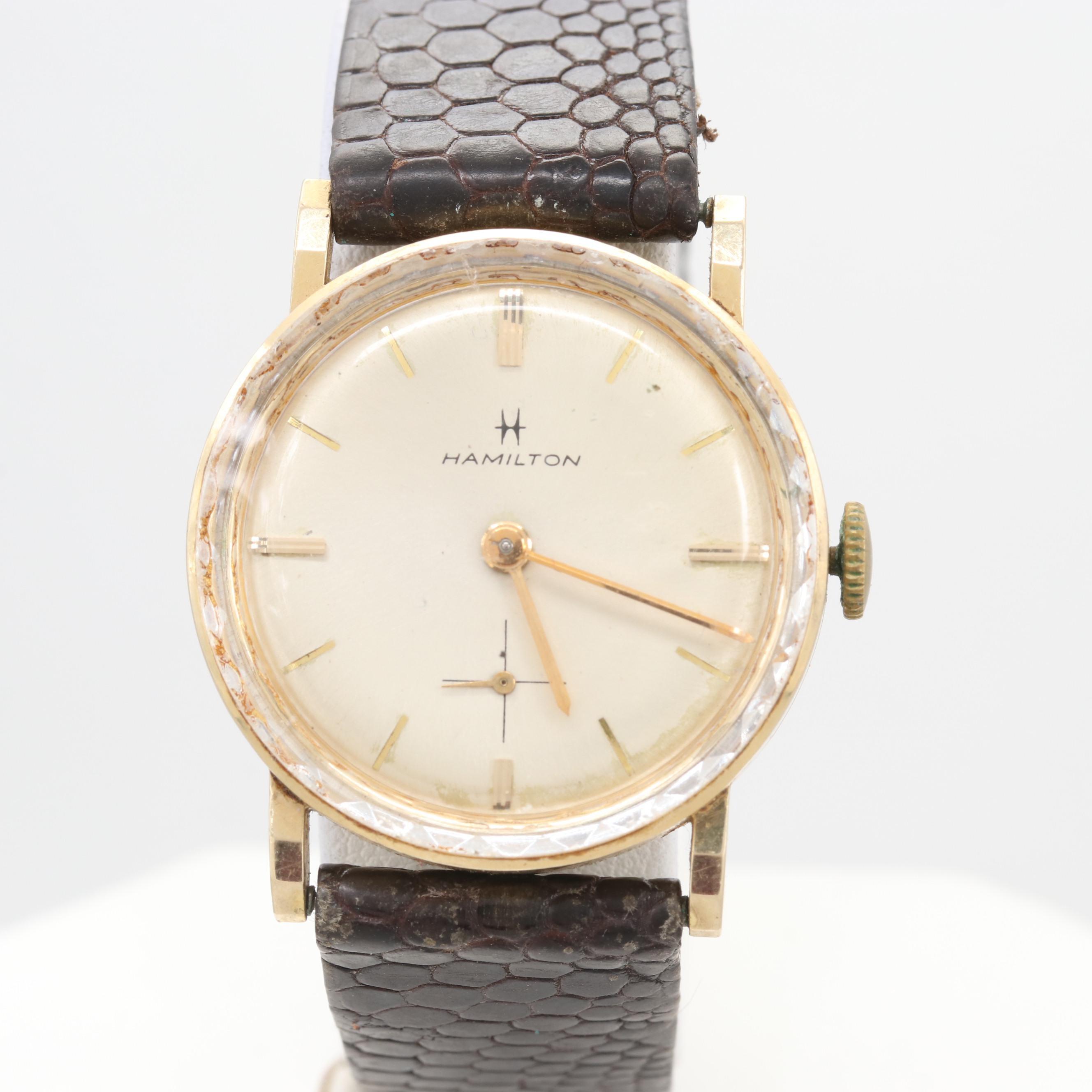 Vintage Hamilton 14K Yellow Gold Stem Wind Wristwatch