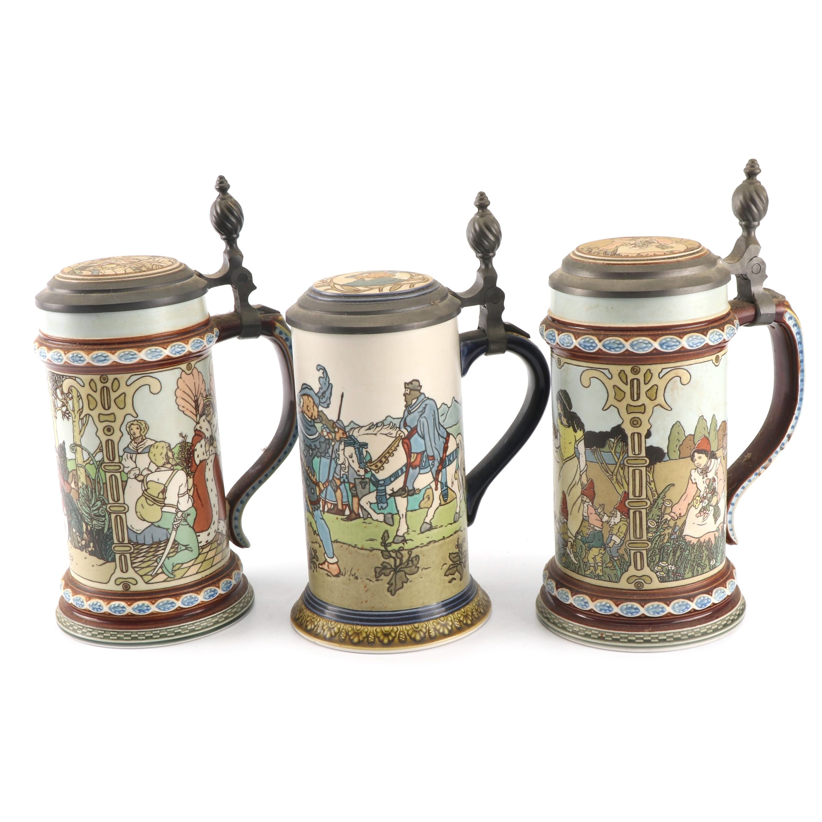 """Mettlach Villeroy & Boch """"Wilhelm Tell"""" and """"The Brothers Grimm"""" Steins"""